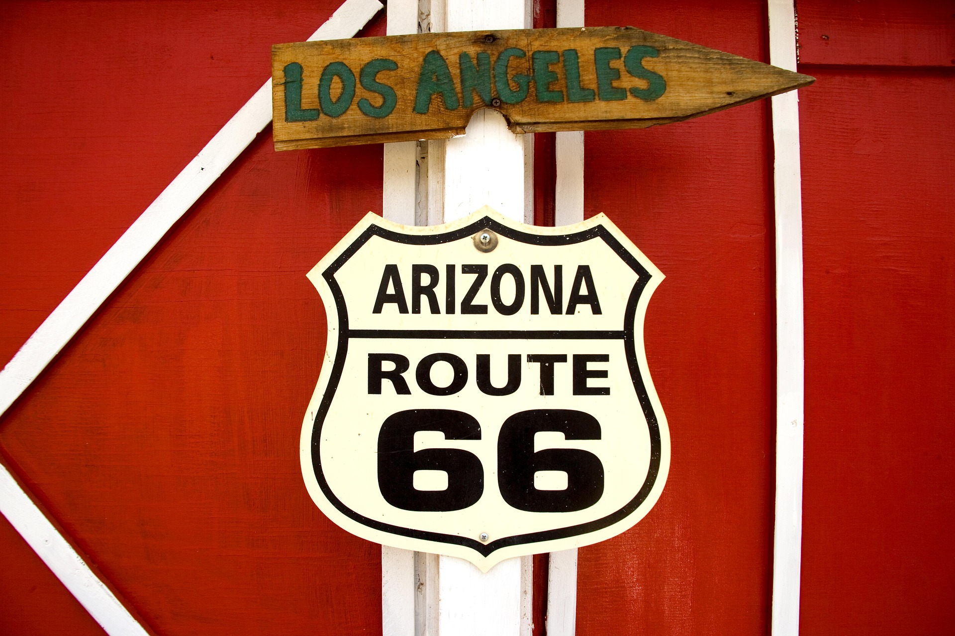 Arizona Route 66, Sign, Route, Object, Losangeles, HQ Photo