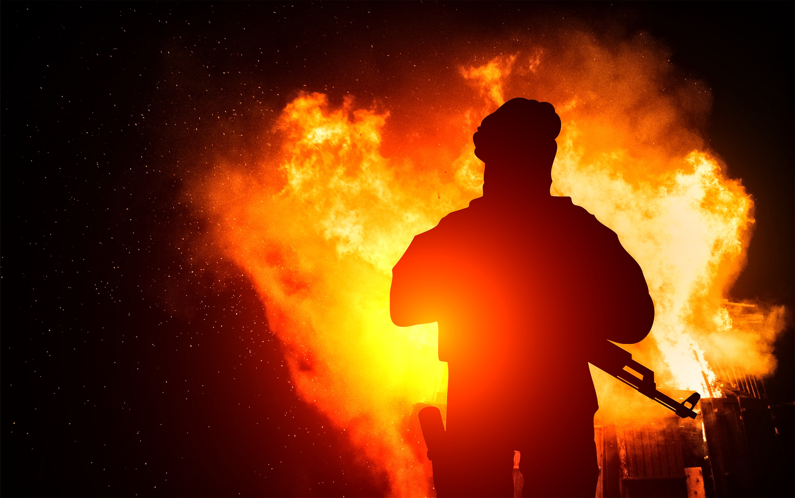 Armed Man with Background Explosion, Action, Protection, Safety, Ruins, HQ Photo