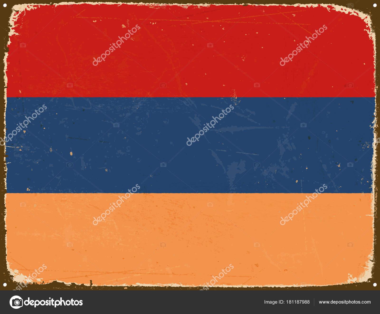 Vintage Metal Sign - Armenia Flag - Vector EPS10. — Stock Vector ...
