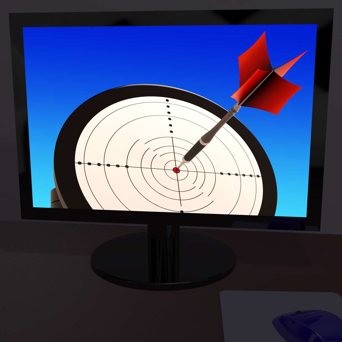 Arrow aiming on monitor showing performance photo