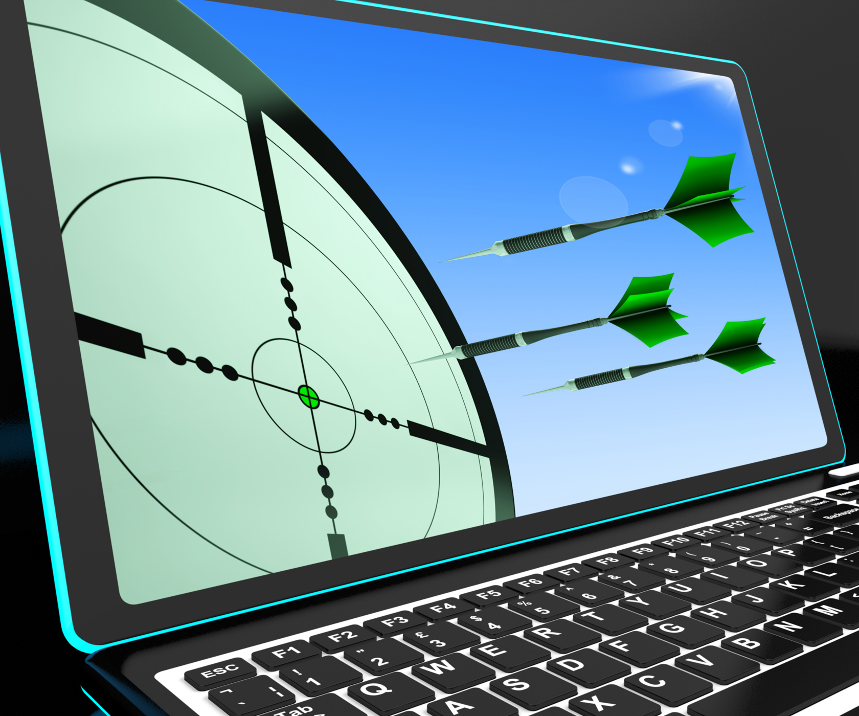 Arrows aiming on laptop shows perfect strategies photo
