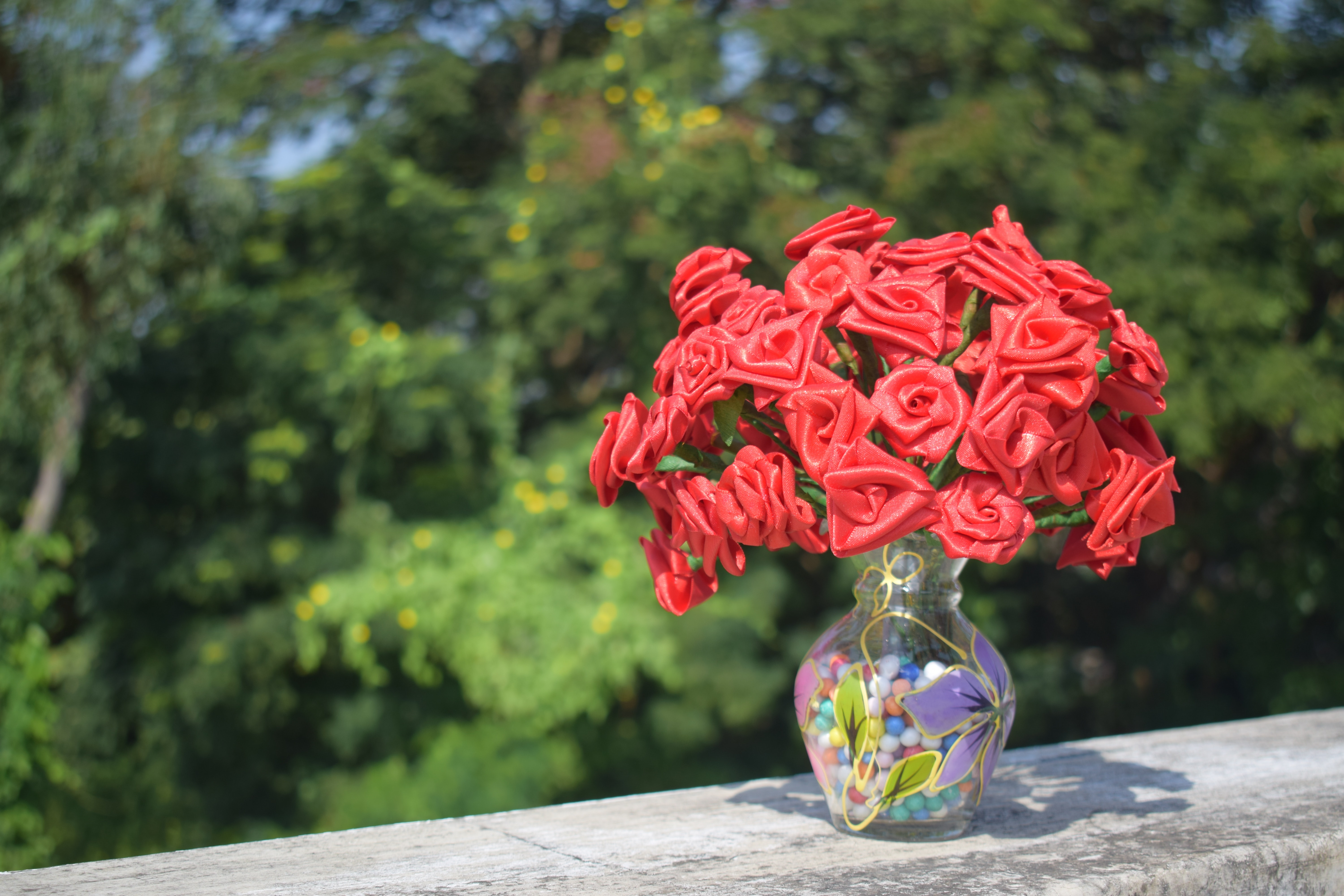 Artificial Roses in Clear Glass Vase on Concrete Surface, Petals, Outdoors, Nature, Plants, HQ Photo