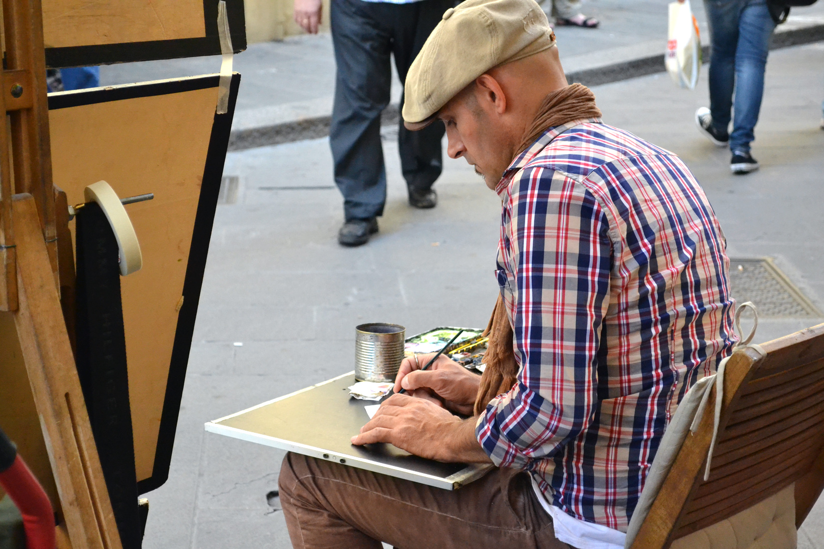 Artist at Work, Artist, Drawing, Florence, Italy, HQ Photo