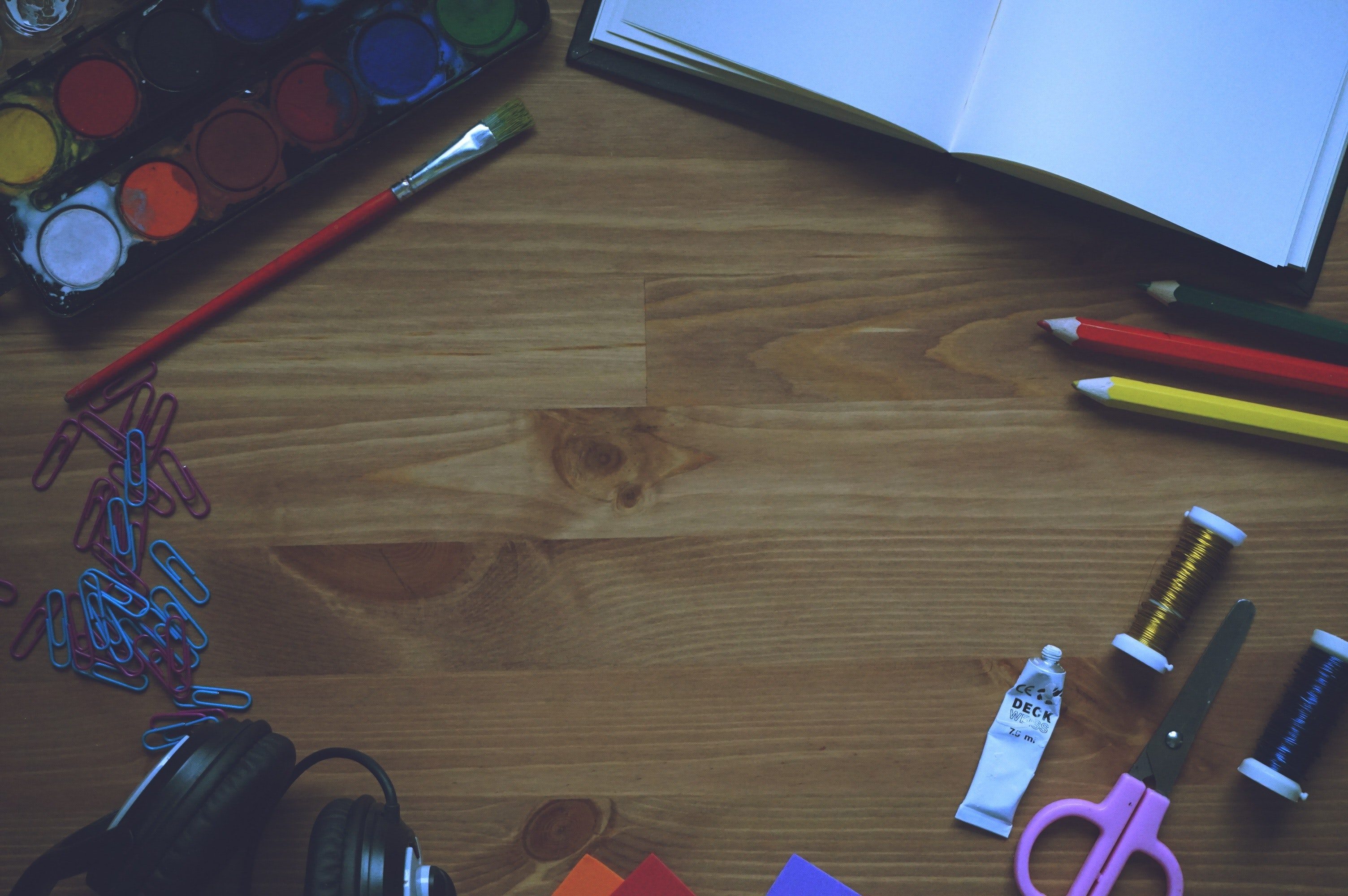 Artwork Materials on Wooden Table, Art, Paint, Table, Scissors, HQ Photo