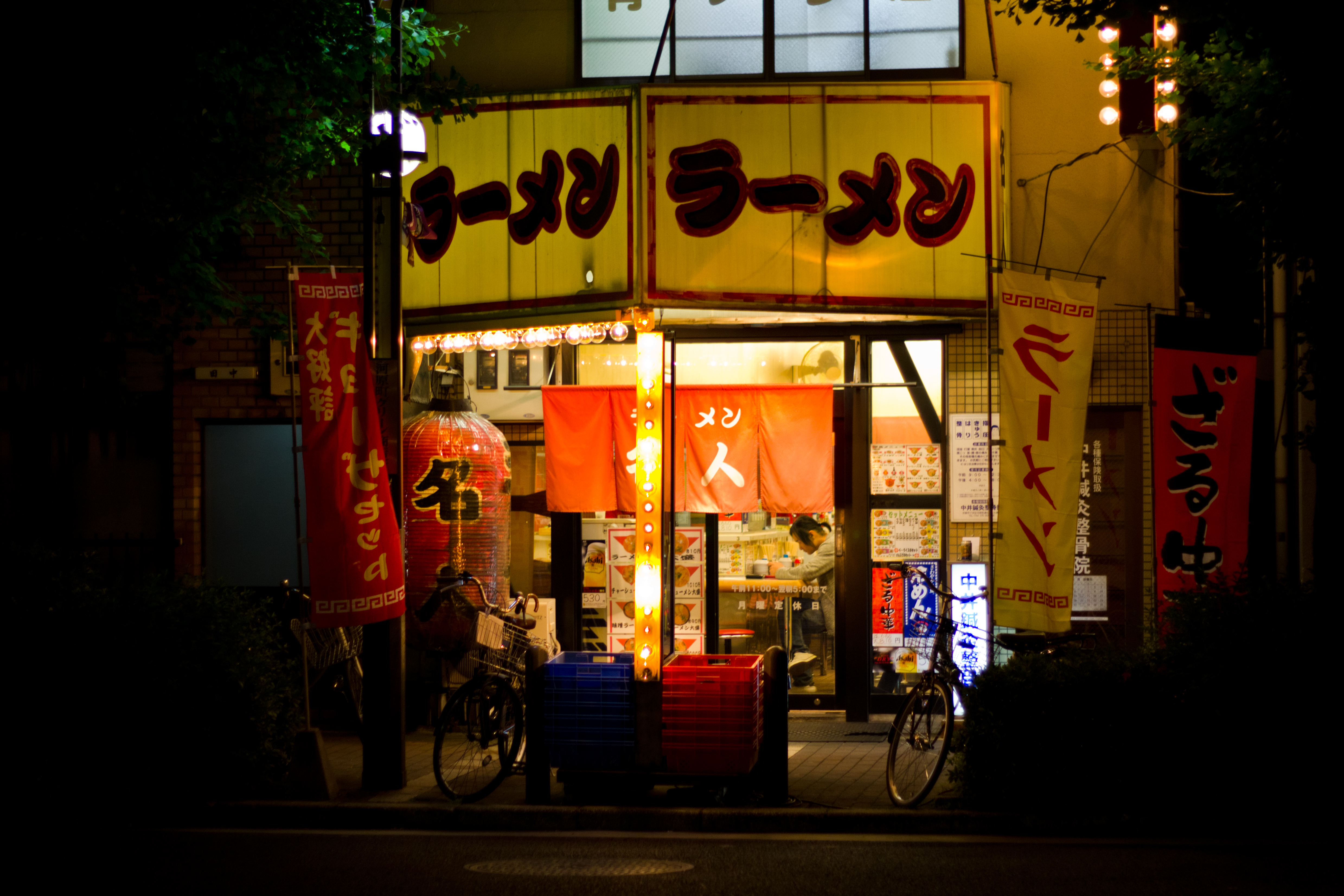 Asian Shop with Advertisements, Advertisements, Asian, Bicycle, Corner store, HQ Photo