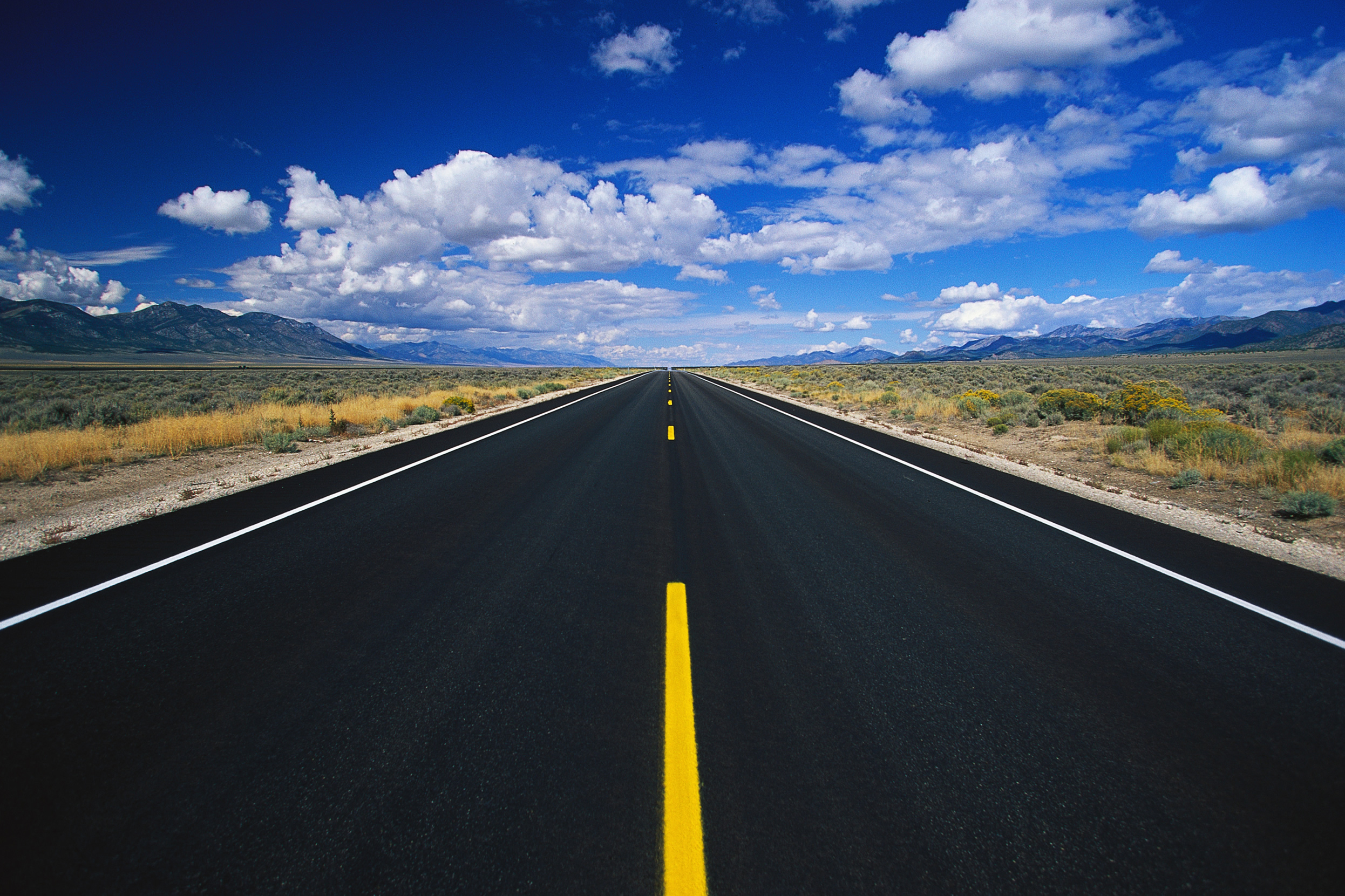 Download wallpaper: strait asphalt road, white road markings ...