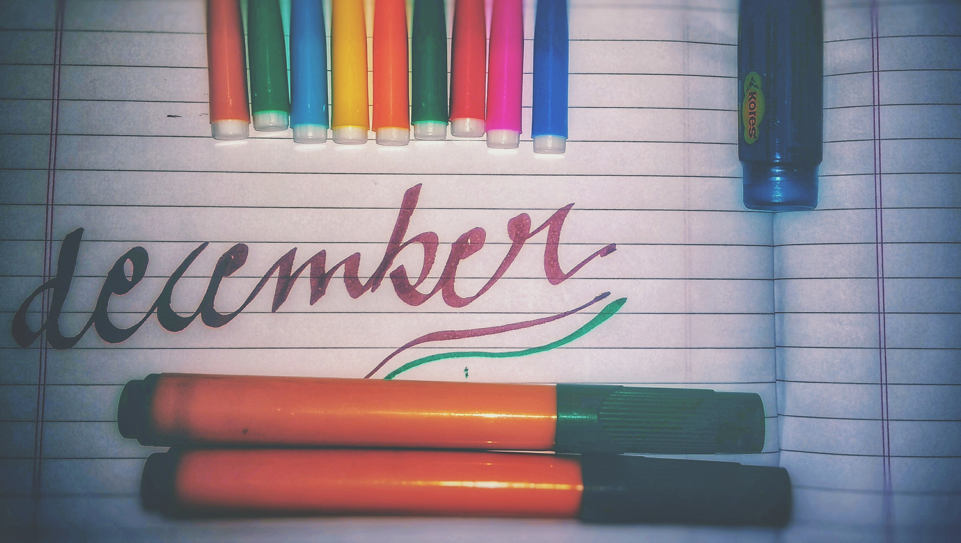 Assorted color pens photo