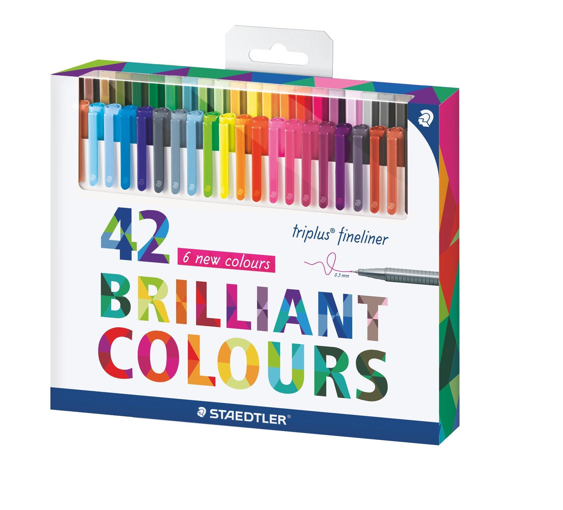 Staedtler Color Pen Set Set of 42 Assorted Colors (Triplus Fineliner ...