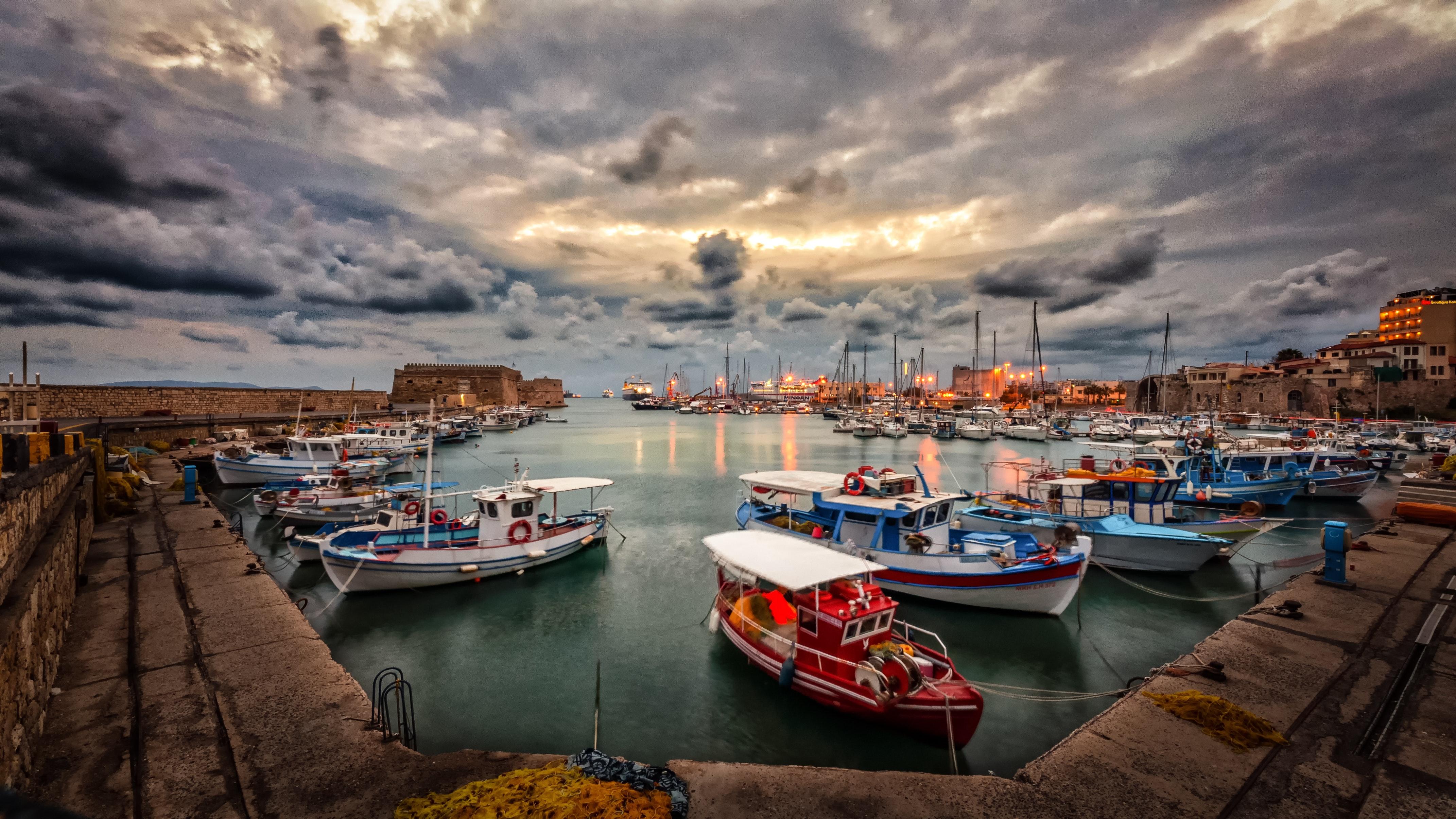 Assorted fishing boats photo