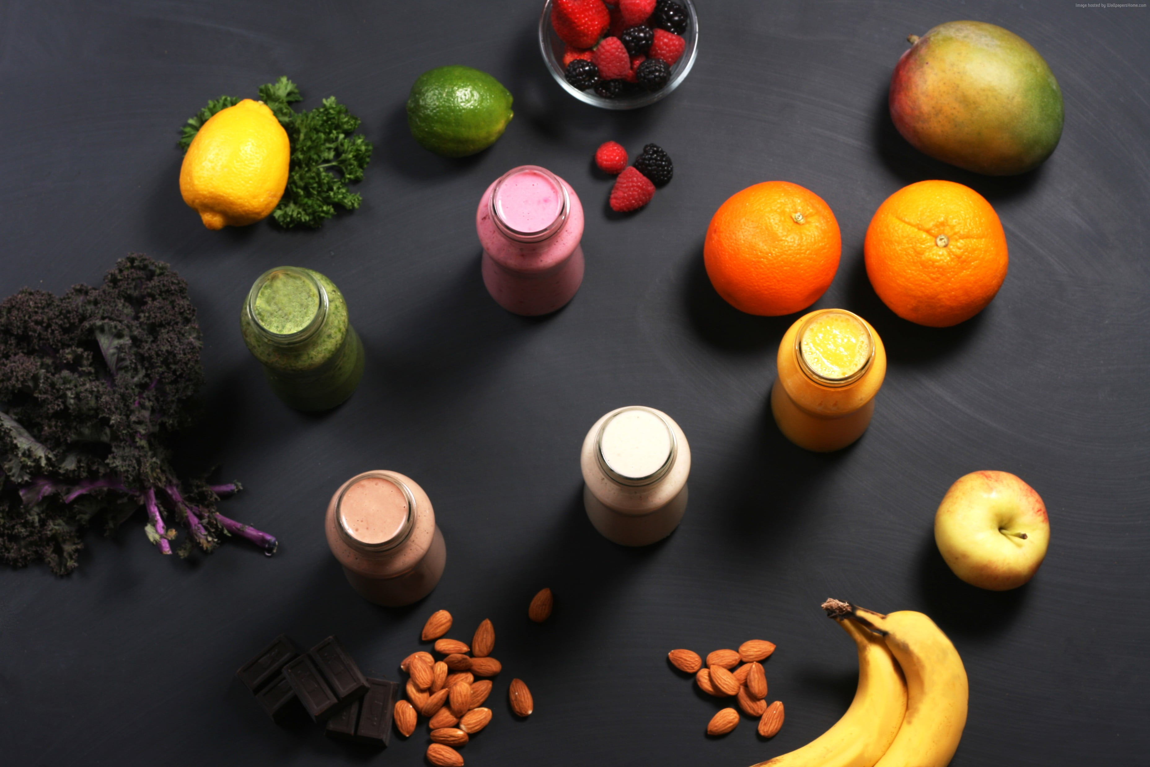 Several assorted fruits on black surface HD wallpaper | Wallpaper Flare