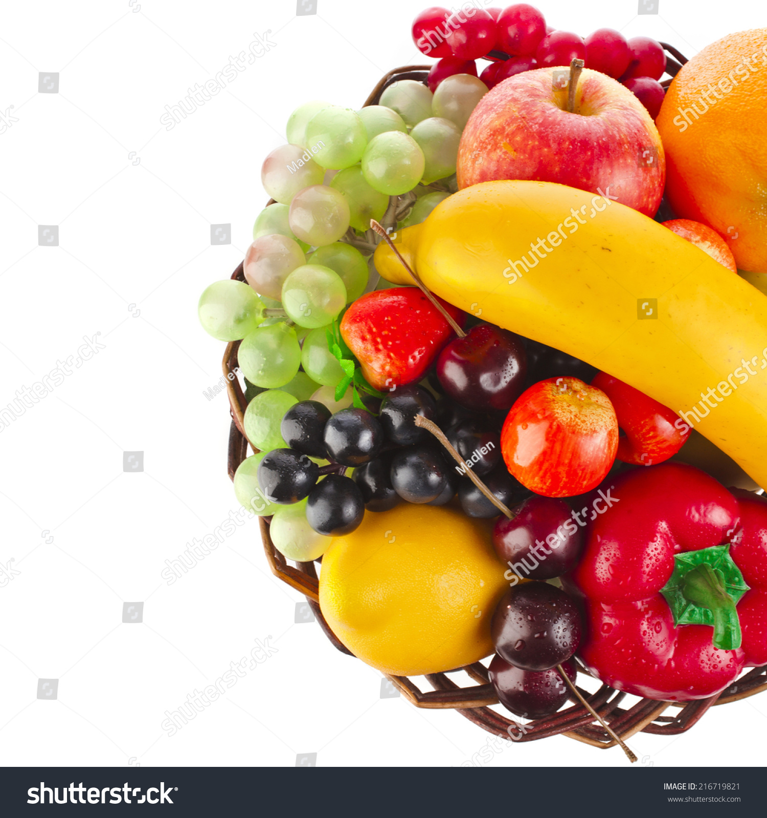 Tasty Summer Fruits Basket Top View Stock Photo 216719821 - Shutterstock