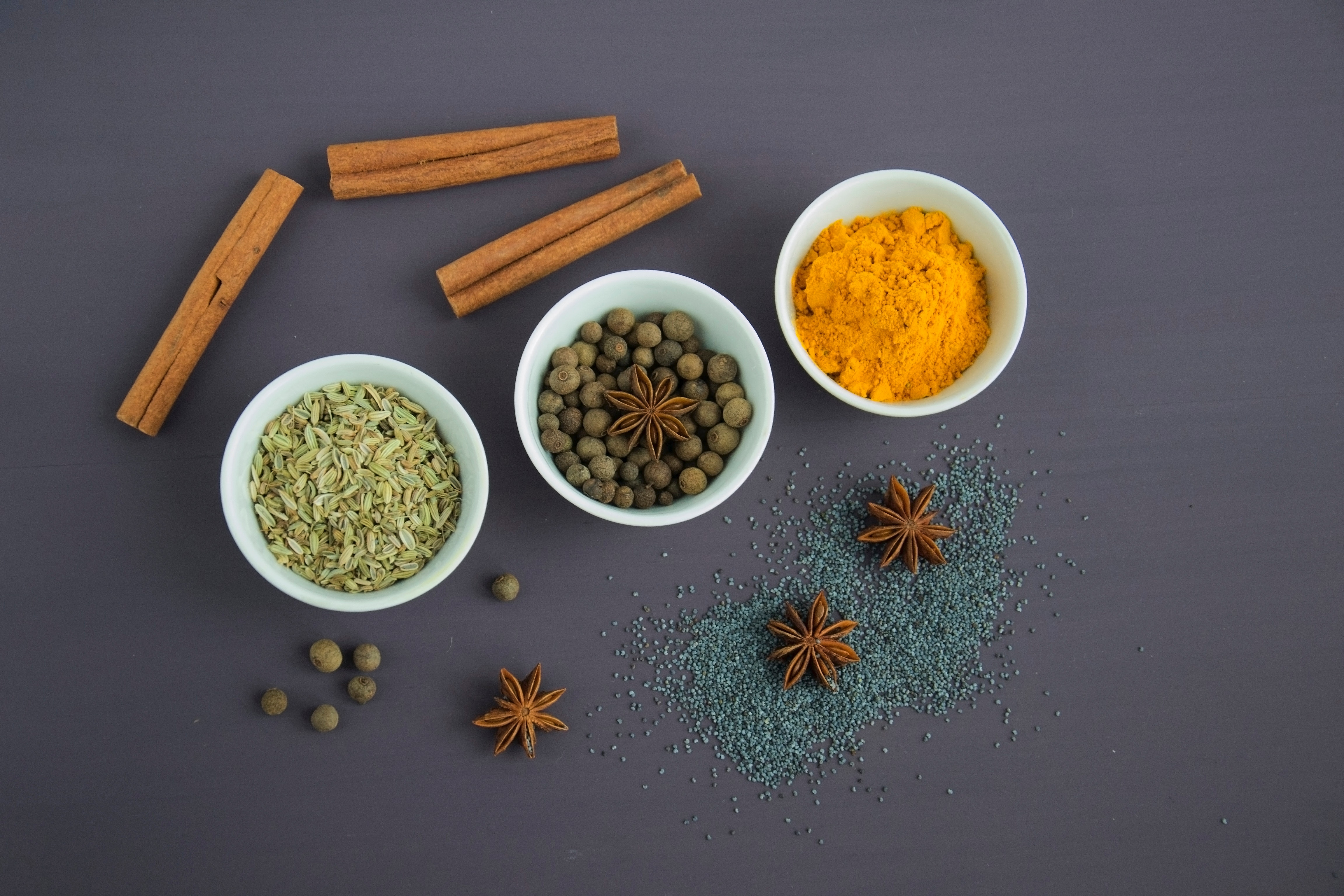 Assorted Spices Near White Ceramic Bowls, Aroma, Fragrant, Top view, Star anise, HQ Photo