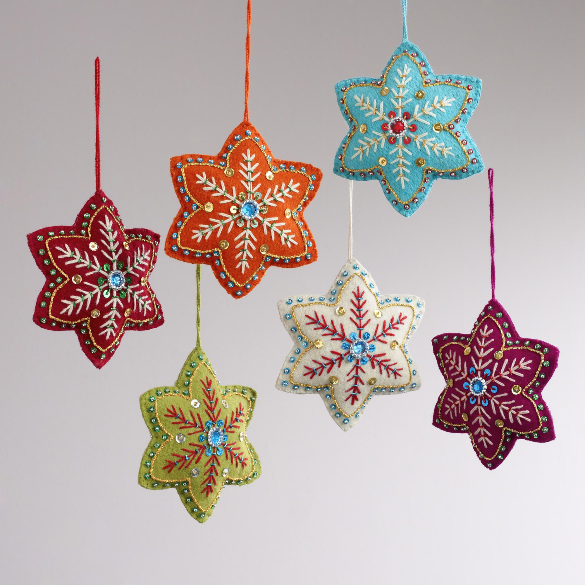 felt ornaments | Embroidered Felt 6-Pointed Star Ornaments, Set of 6 ...