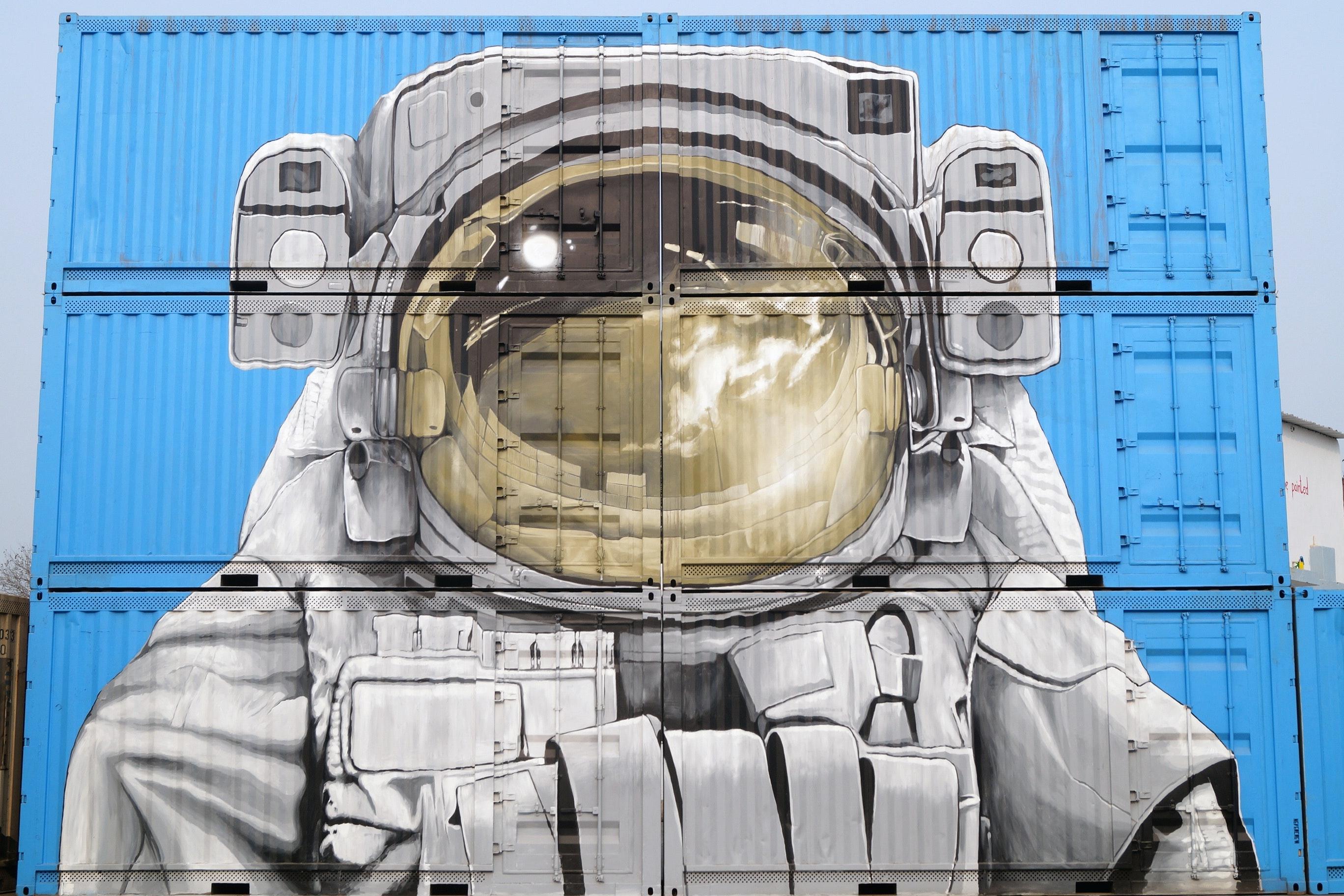 Astronaut Graffiti on Semi-Trailers, Graffiti, Urban, Travel, Transportation system, HQ Photo