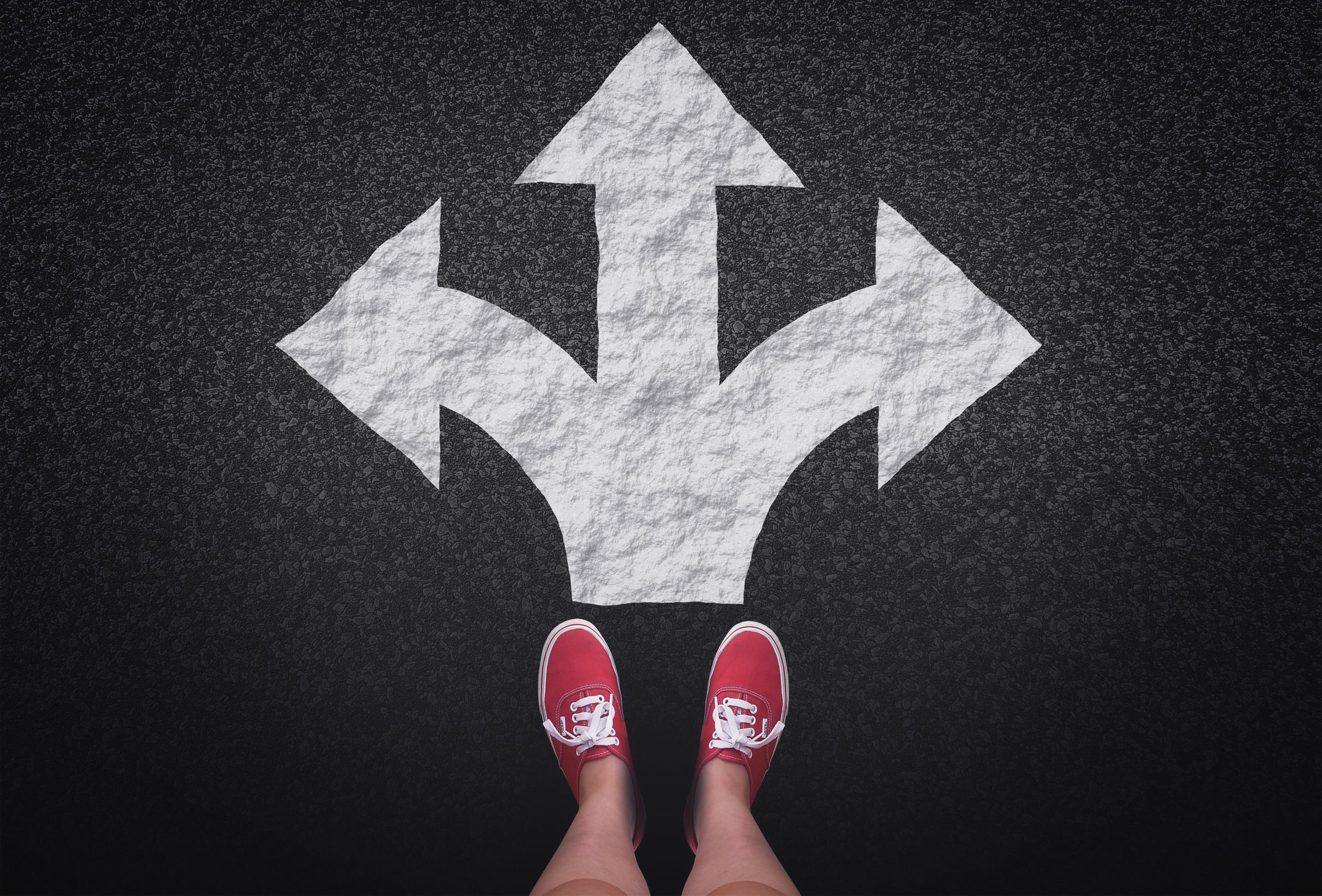 At a crossroads - Decisions and choices concept with large arrow signs, Achievement, Sign, Shoe, Select, HQ Photo