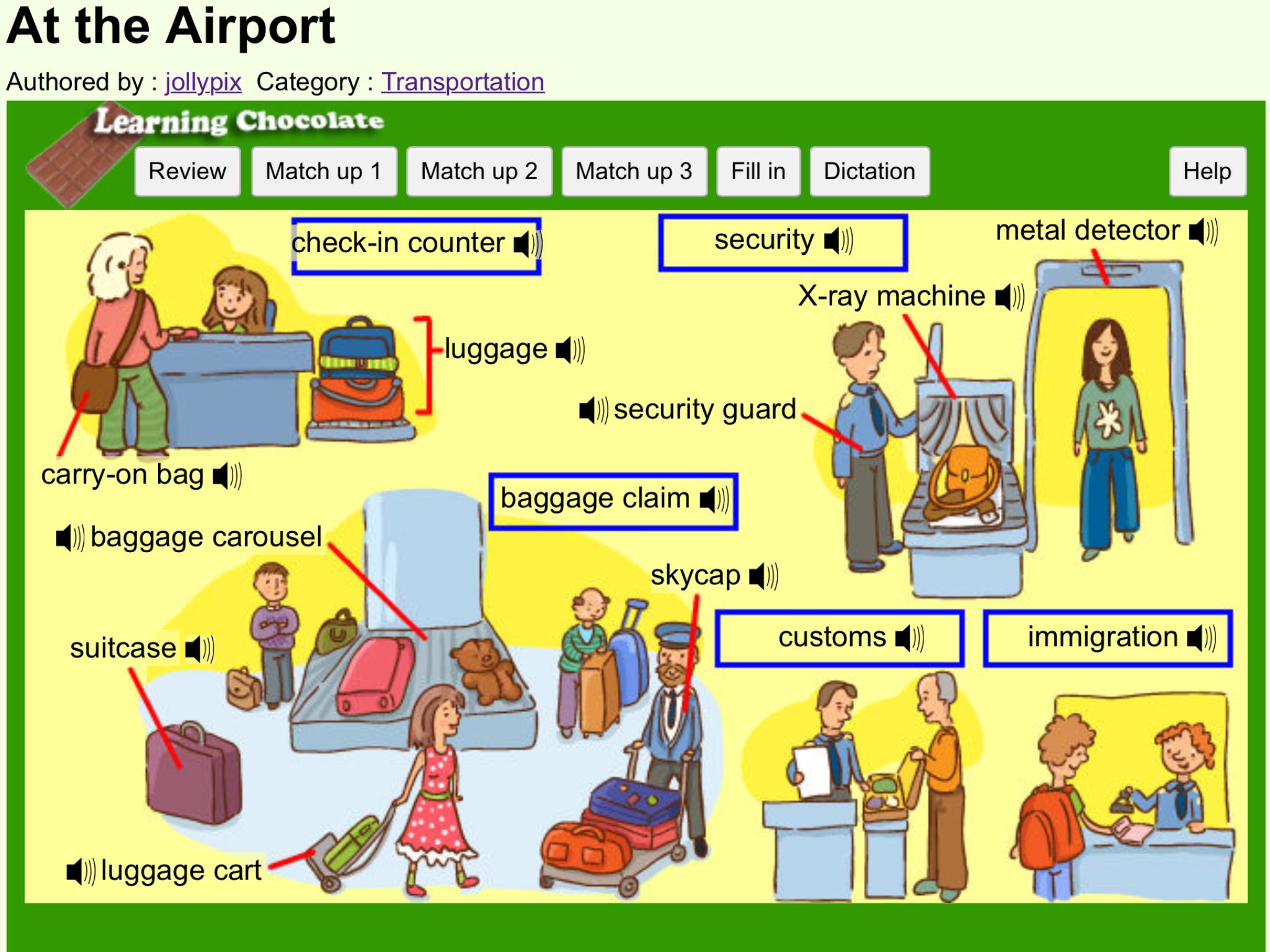 Vocabulary: At the Airport http://www.learningchocolate.com/content ...