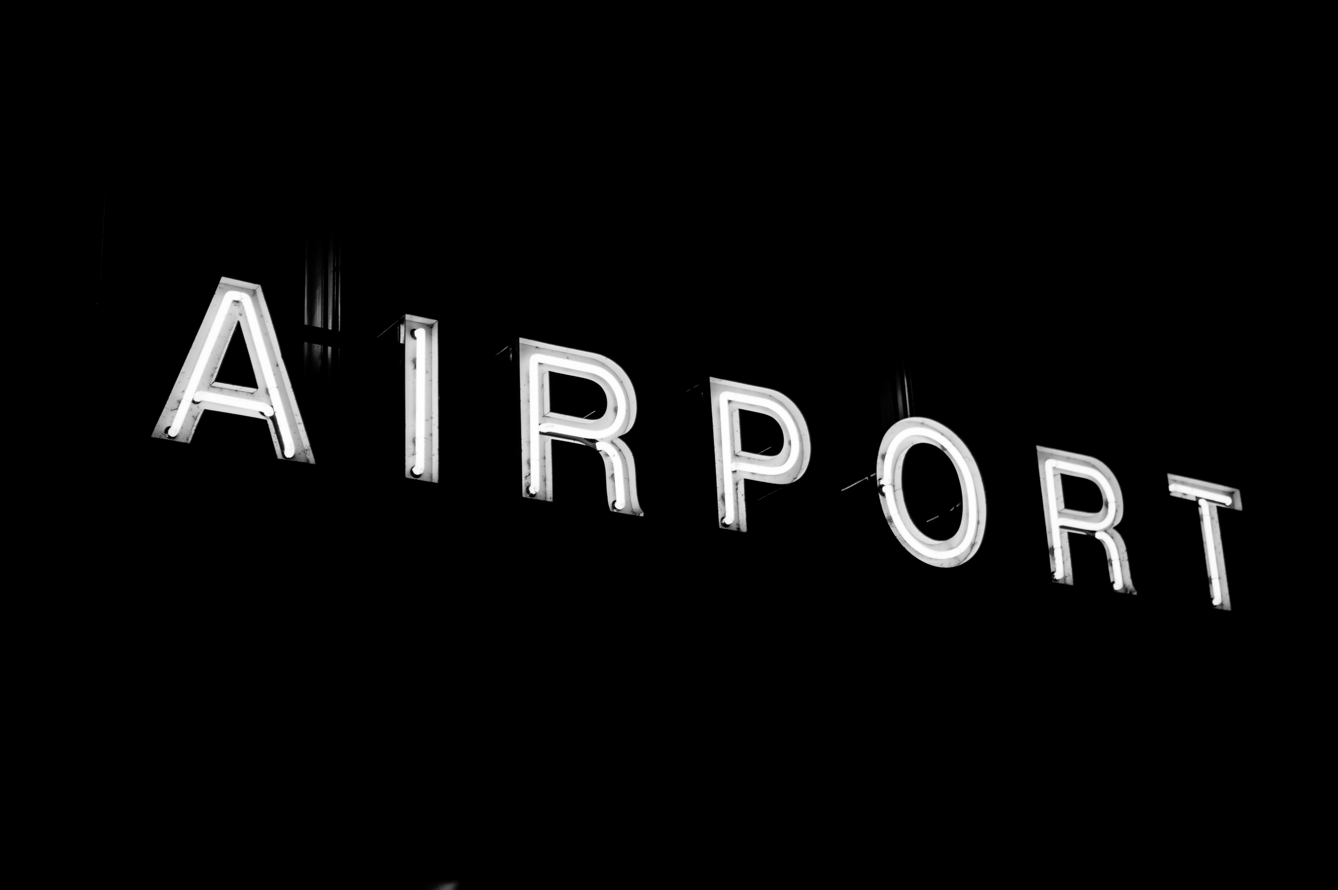 At the Airport, Sign, Light, Dark, Board, HQ Photo