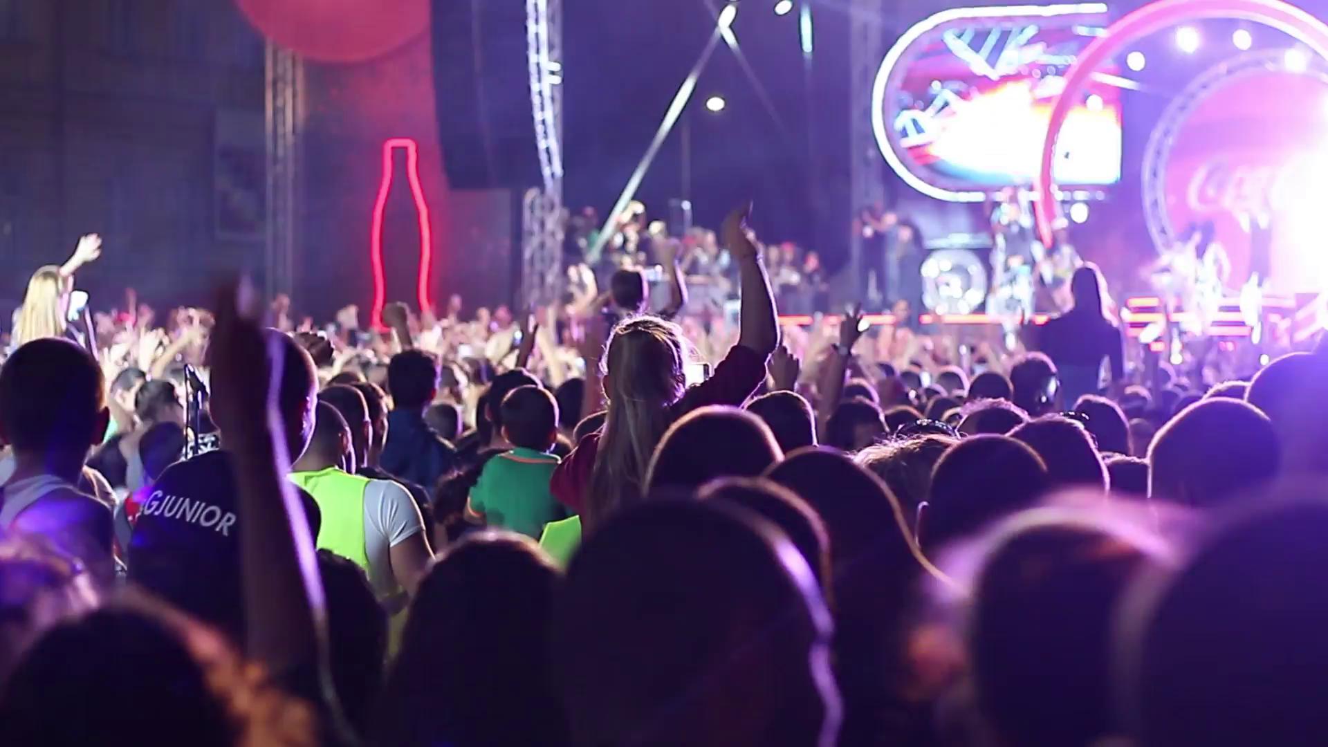 Sofia, Bulgaria - 19 SEP 2015: Huge crowd of young people having fun ...