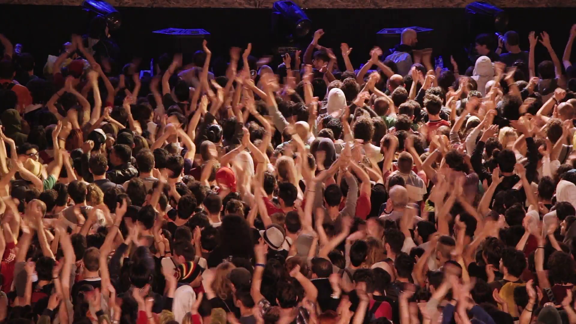Crowd at the concert claps hands and keeps the rhythm Stock Video ...