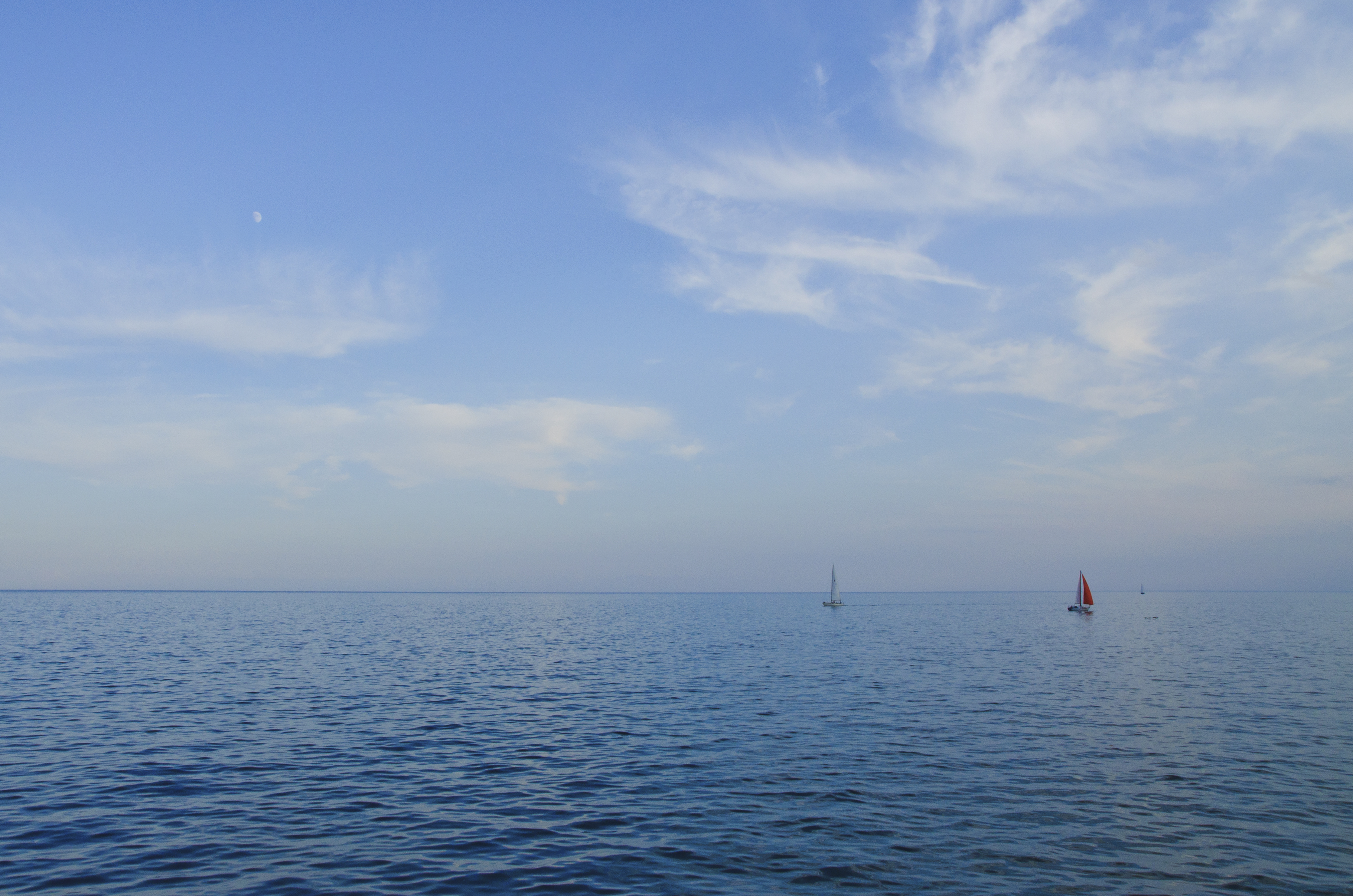 At the Sea, Boats, Clouds, Lake, River, HQ Photo