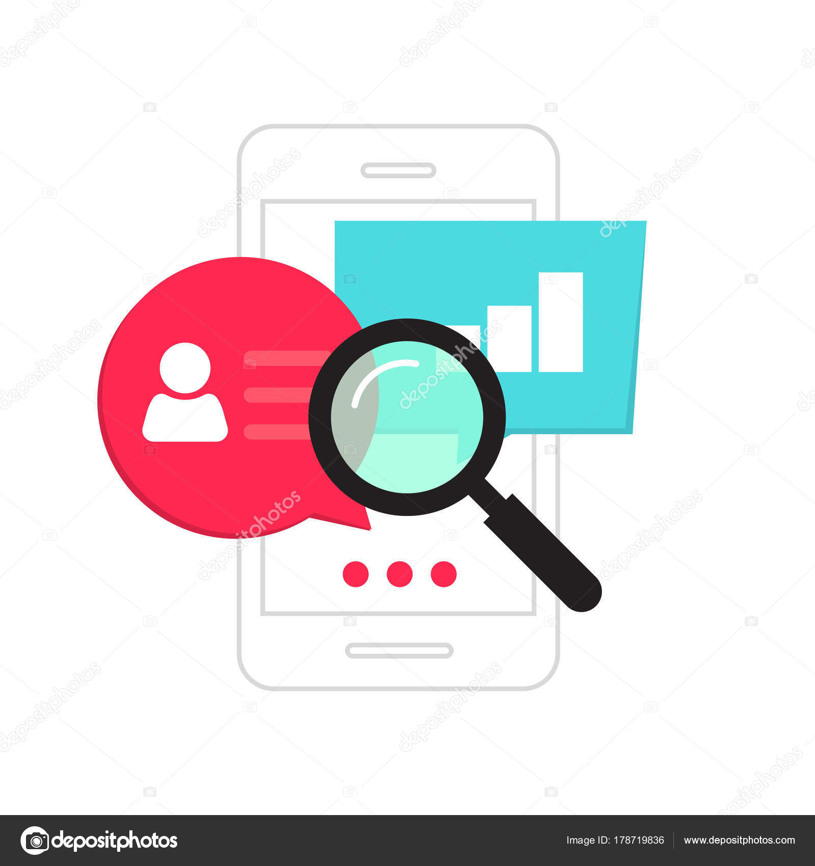 Mobile phone data analytics concept, smartphone social statistics ...