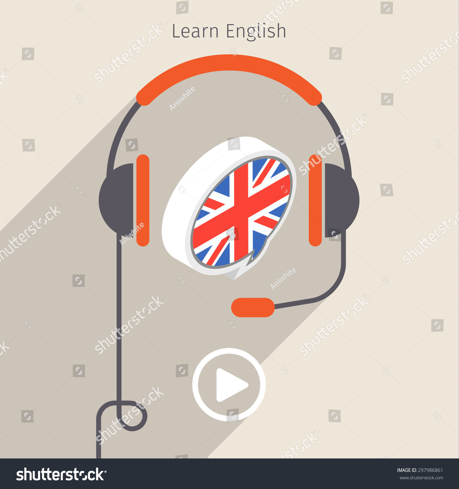 Concept Audio Book Studying Languages Book Stock Vector 297986861 ...