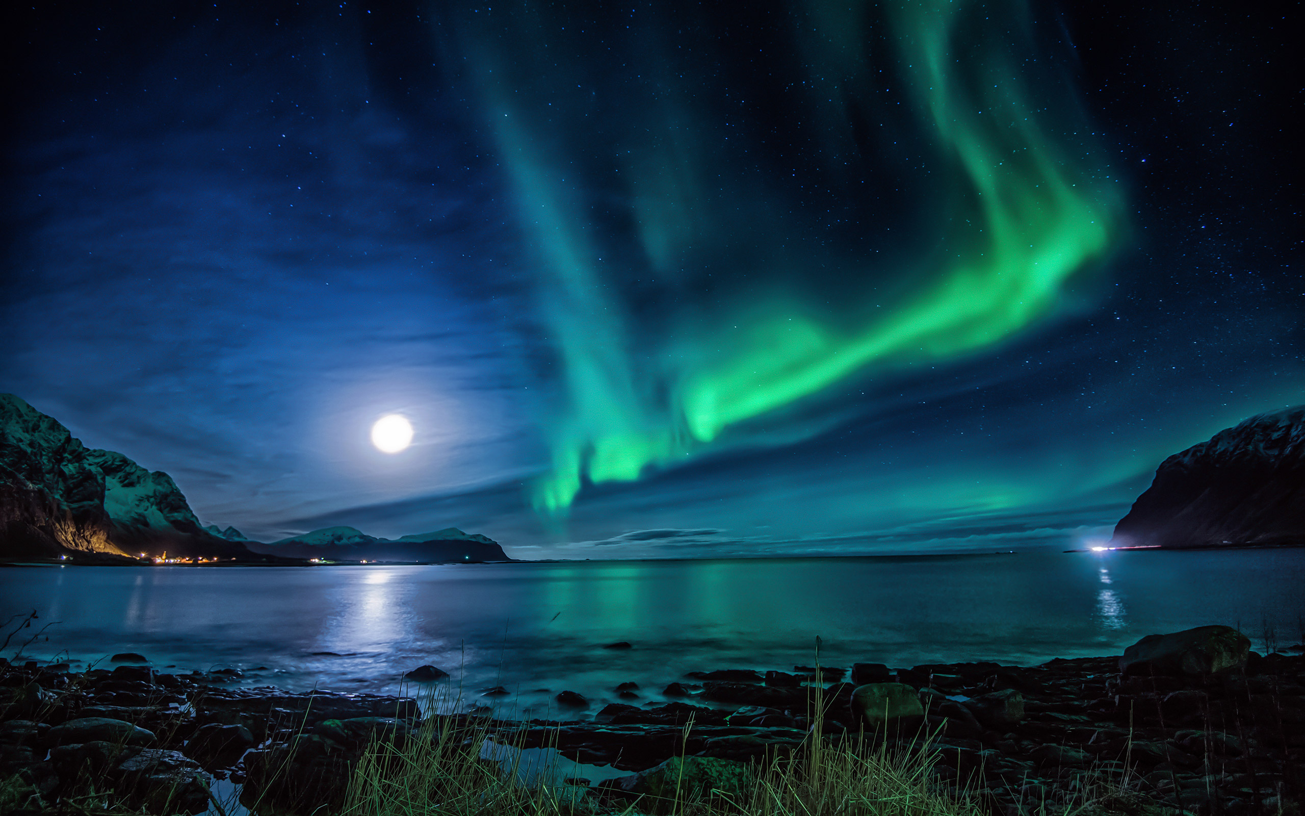 Aurora Borealis Moon Night, HD Nature, 4k Wallpapers, Images ...