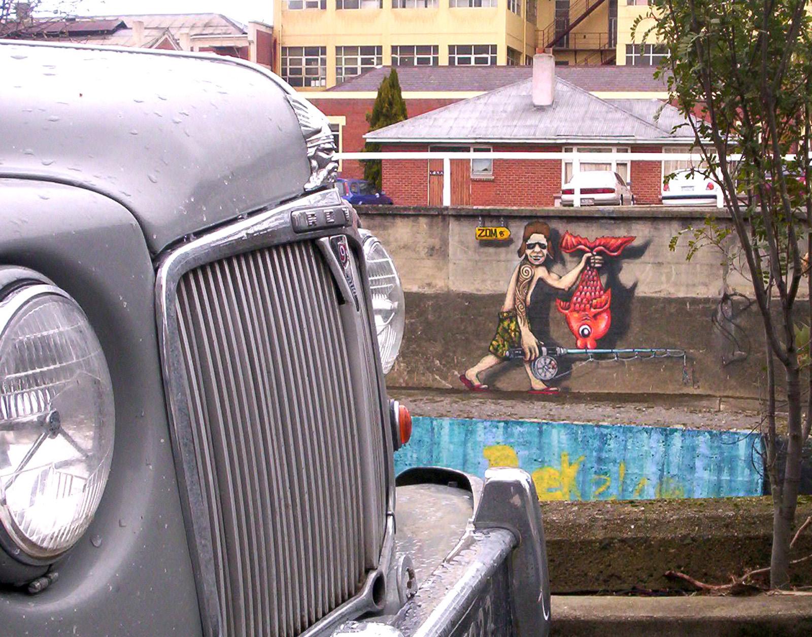 Aussie migrant under observation, Bspo06, Car, Dunedin, Graphiti, HQ Photo