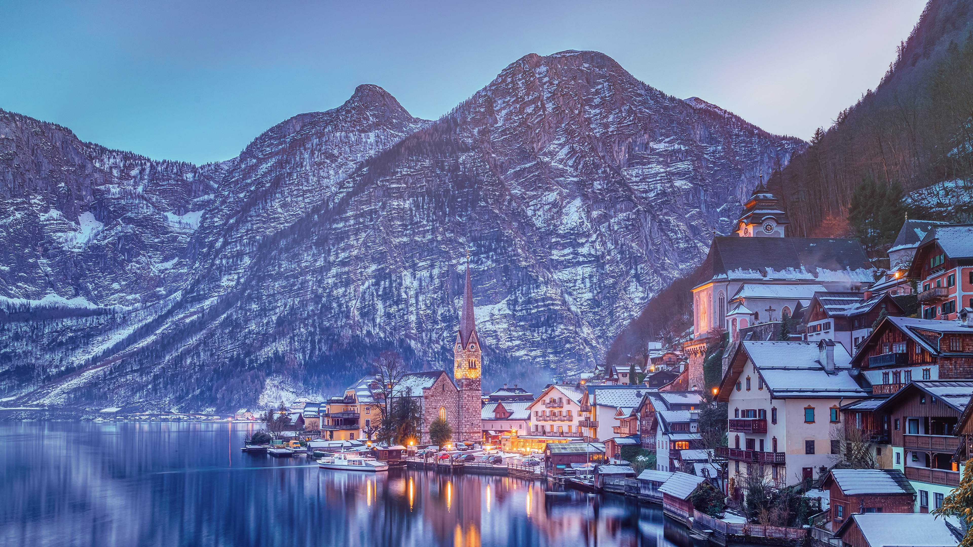 Wallpapers Hallstatt Alps Austria Winter Mountains Lake 3840x2160