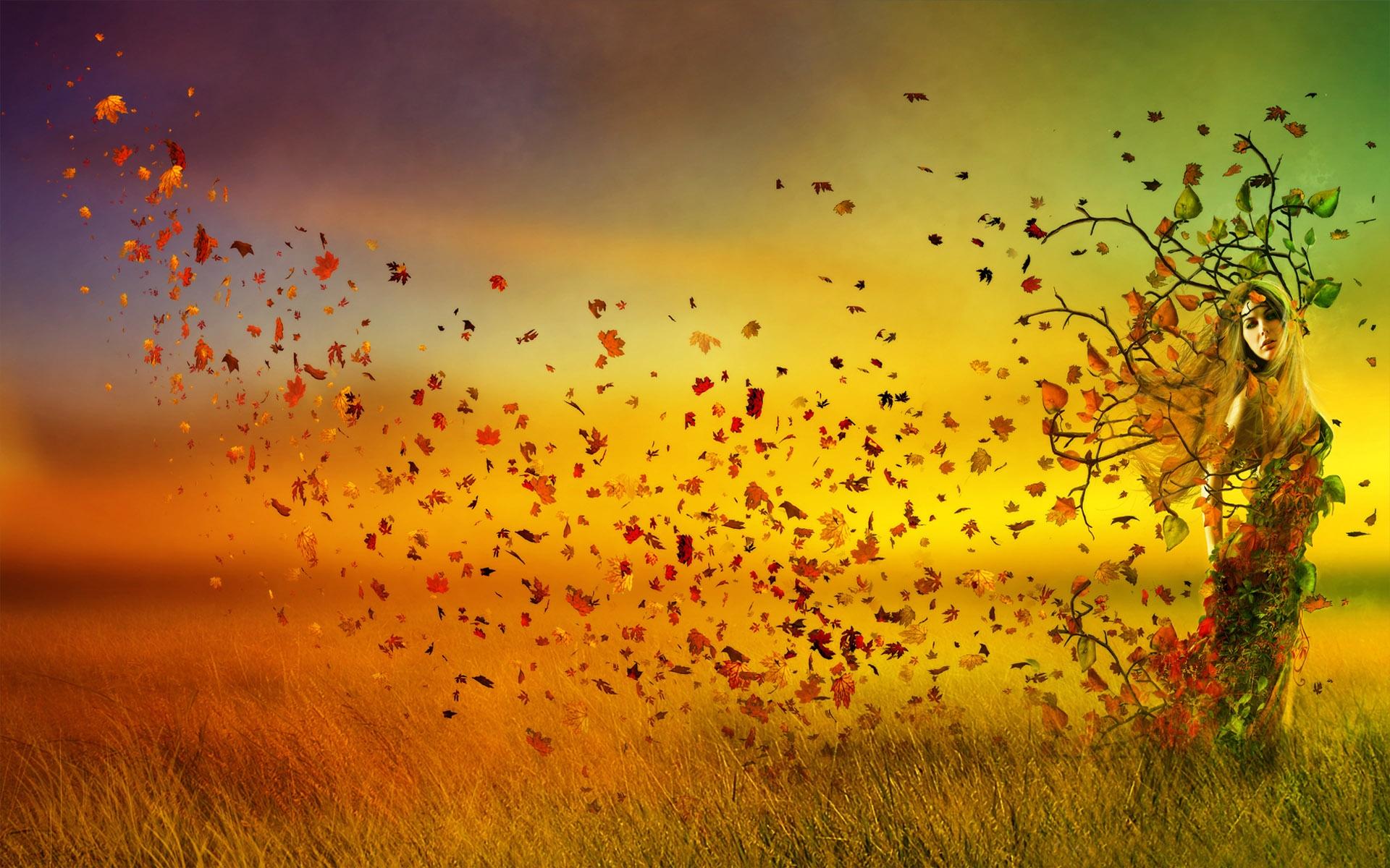 Autumn Beauty Girl Gold Leaves 2157 - Nature HD Desktop Wallpaper