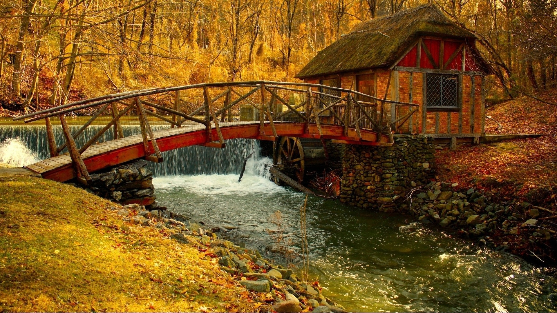 Bridges: Bridge Small Autumn Cottage Woods Stream Waterfall Full HD ...