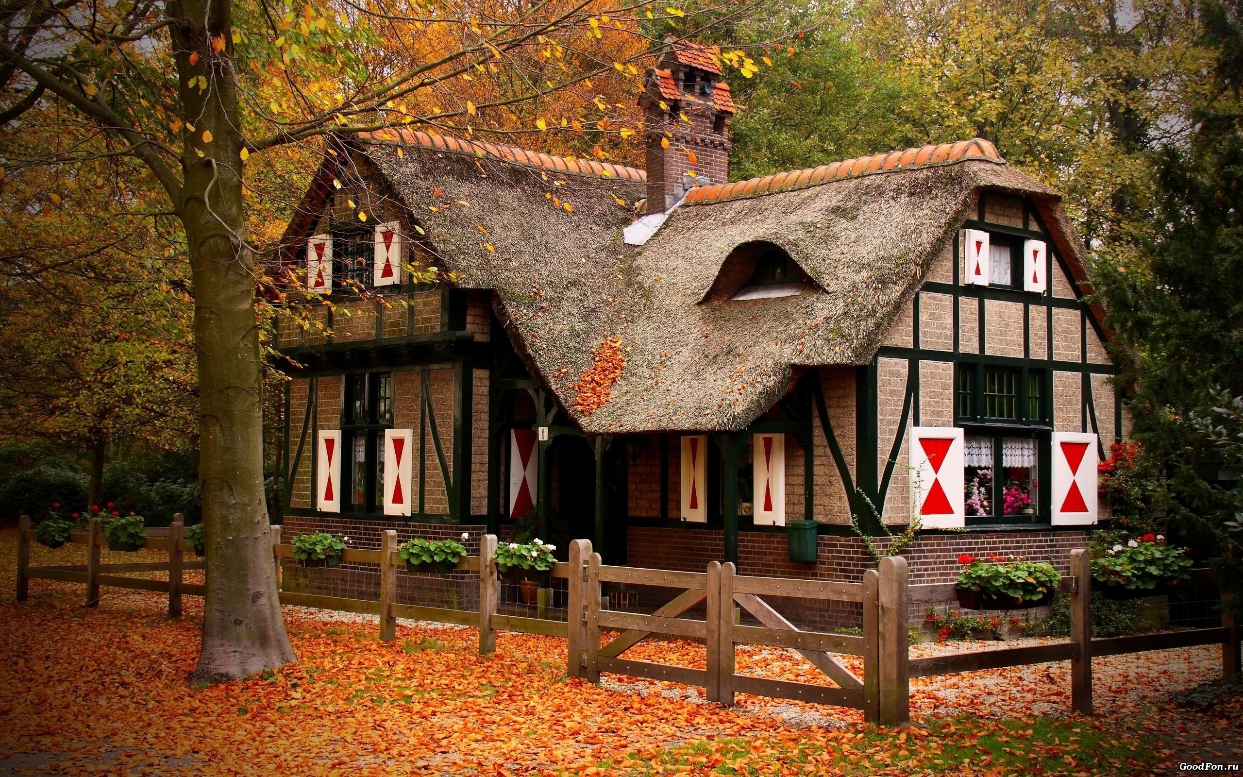 Autumn season houses cottage | HD Wallpapers