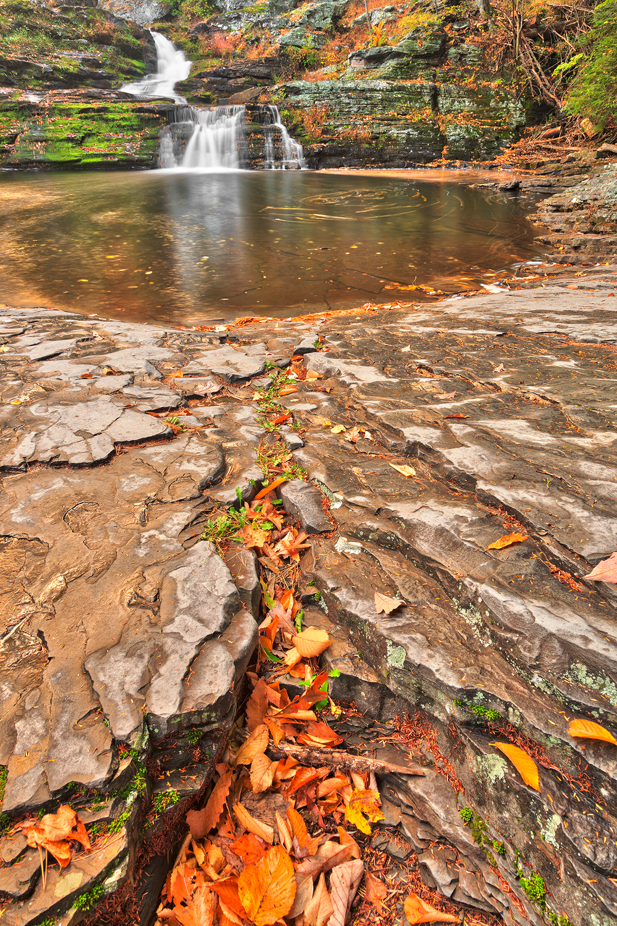 Autumn crater waterfall - hdr photo