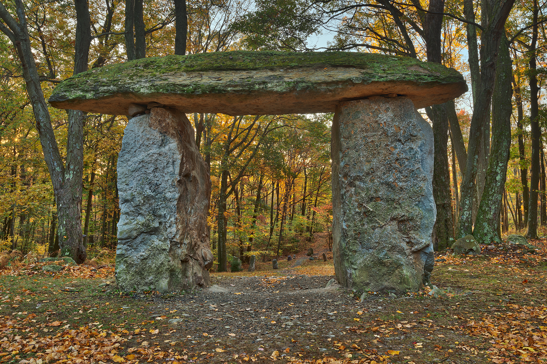 Autumn forest megalith - hdr photo