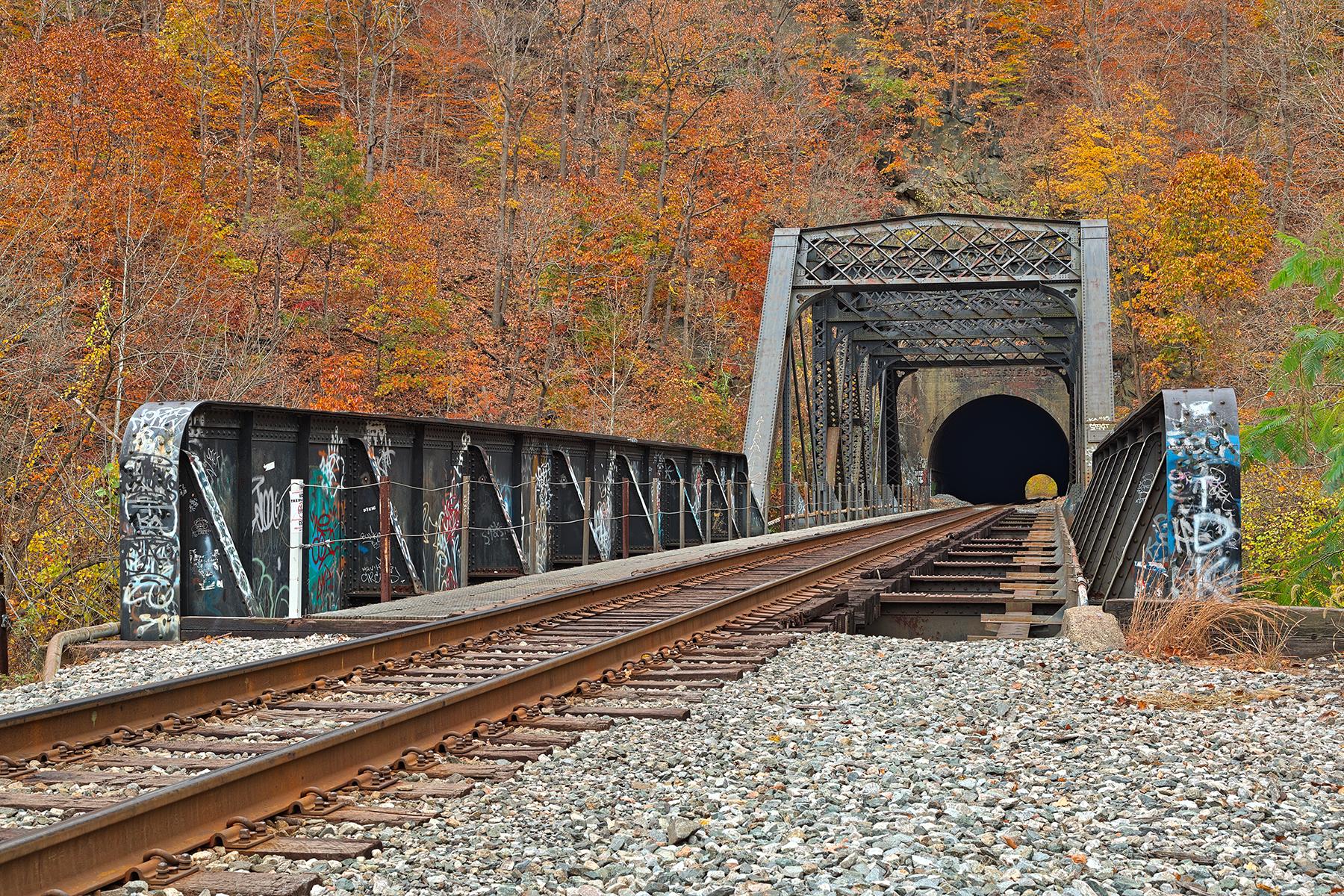 Autumn Graffiti Train Track - HDR, Age, Passage, Railway, Rails, HQ Photo