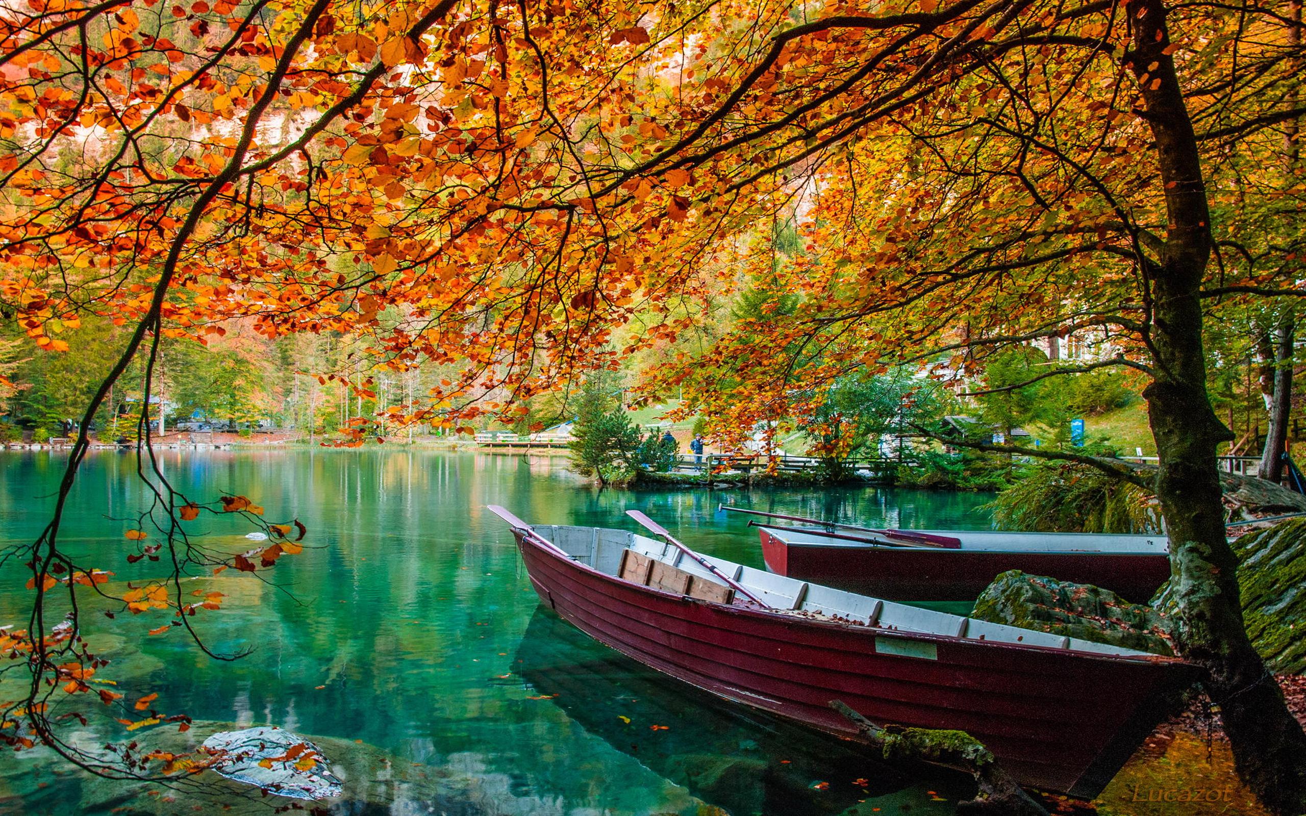 Autumn Lake Beautiful Turquoise Water Trees Hd Wallpaper 73142 ...