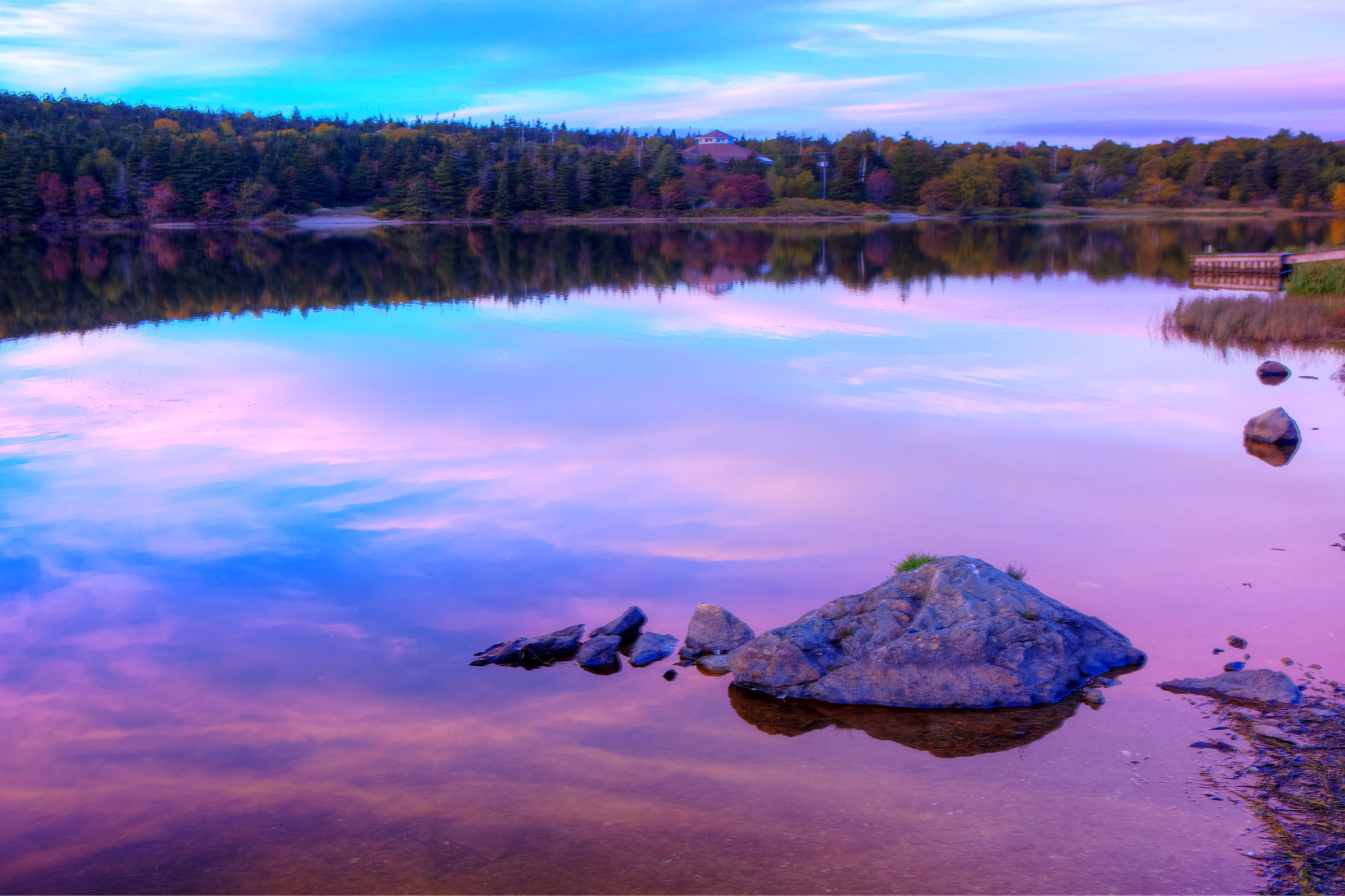 Autumn Lake, Reflection, Outdoors, Outside, Pink, HQ Photo