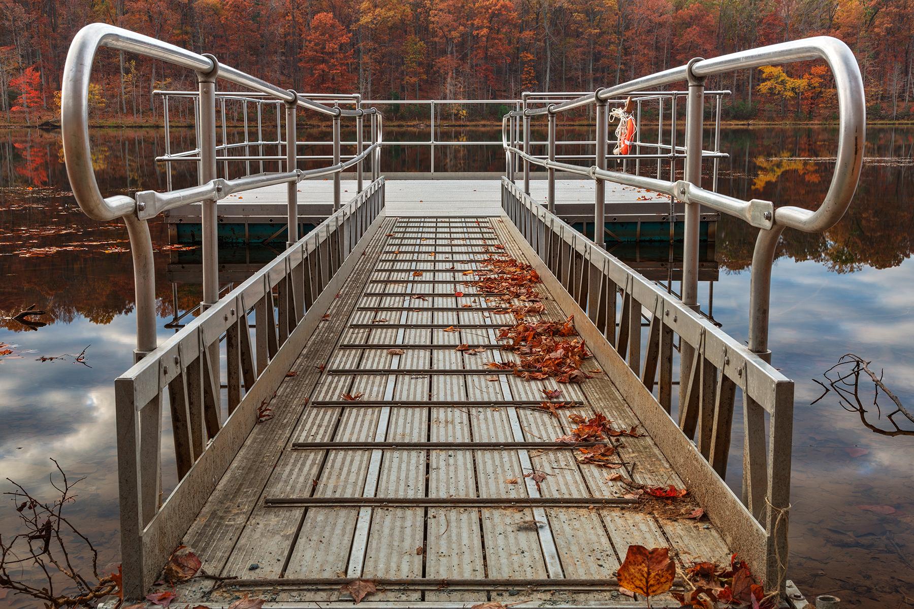 Autumn lake boardwalk - hdr photo