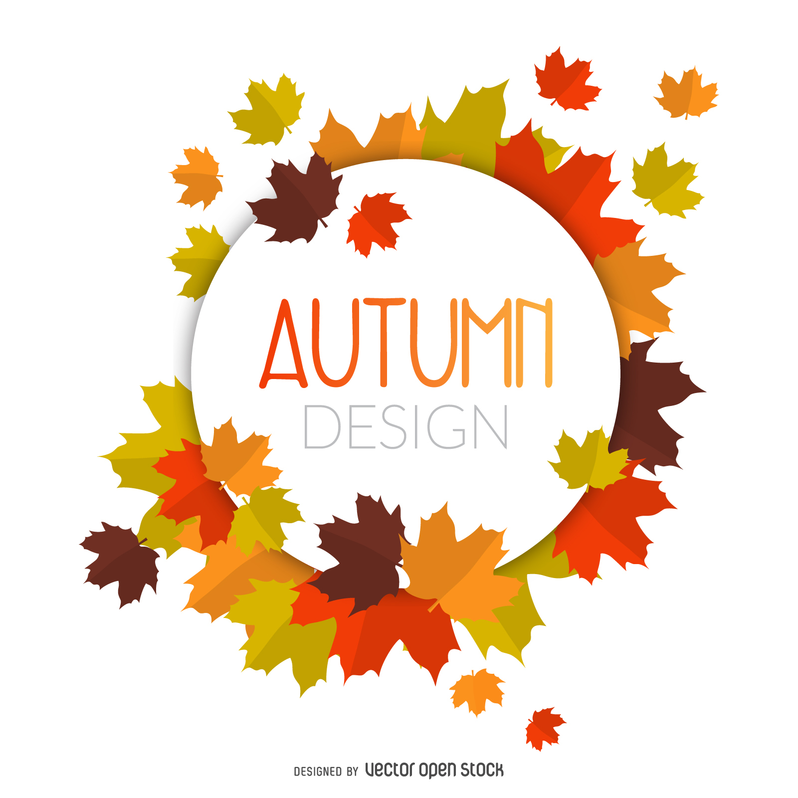 Autumn leaves circle frame - Vector download