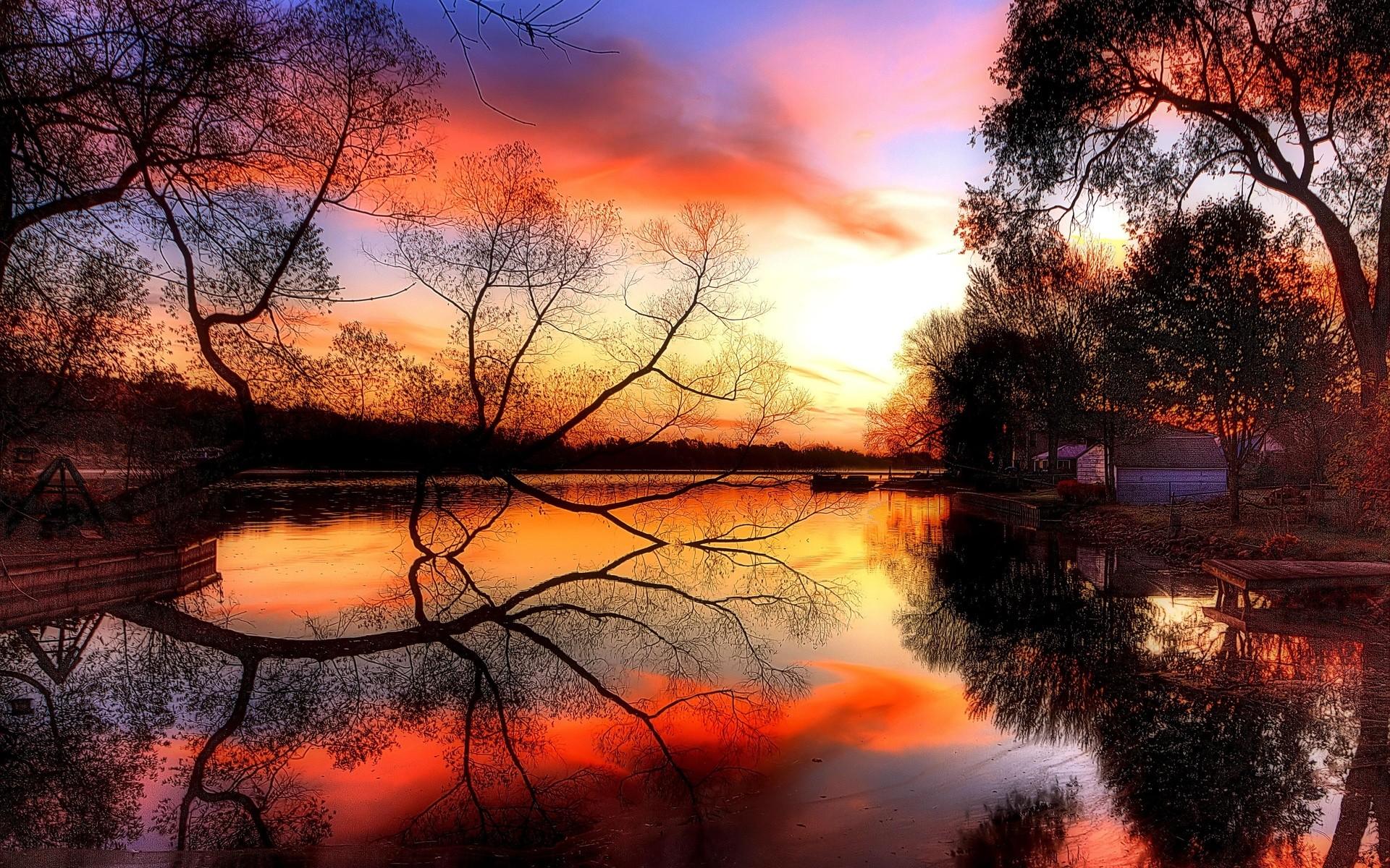 Lakes Reflection Autumn Pond Sunset Photo Of Nature Scene ~ Lakes ...