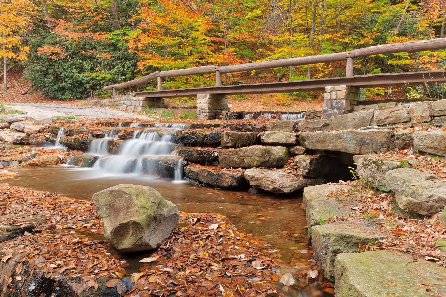 Autumn Roadside Cascades - HDR, America, Rocky, Scenery, Scene, HQ Photo