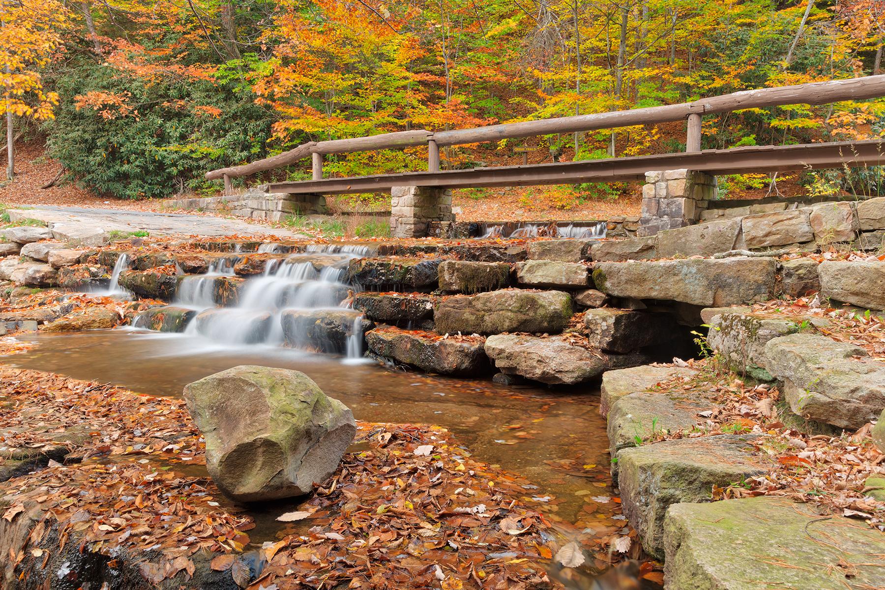 Autumn roadside cascades - hdr photo