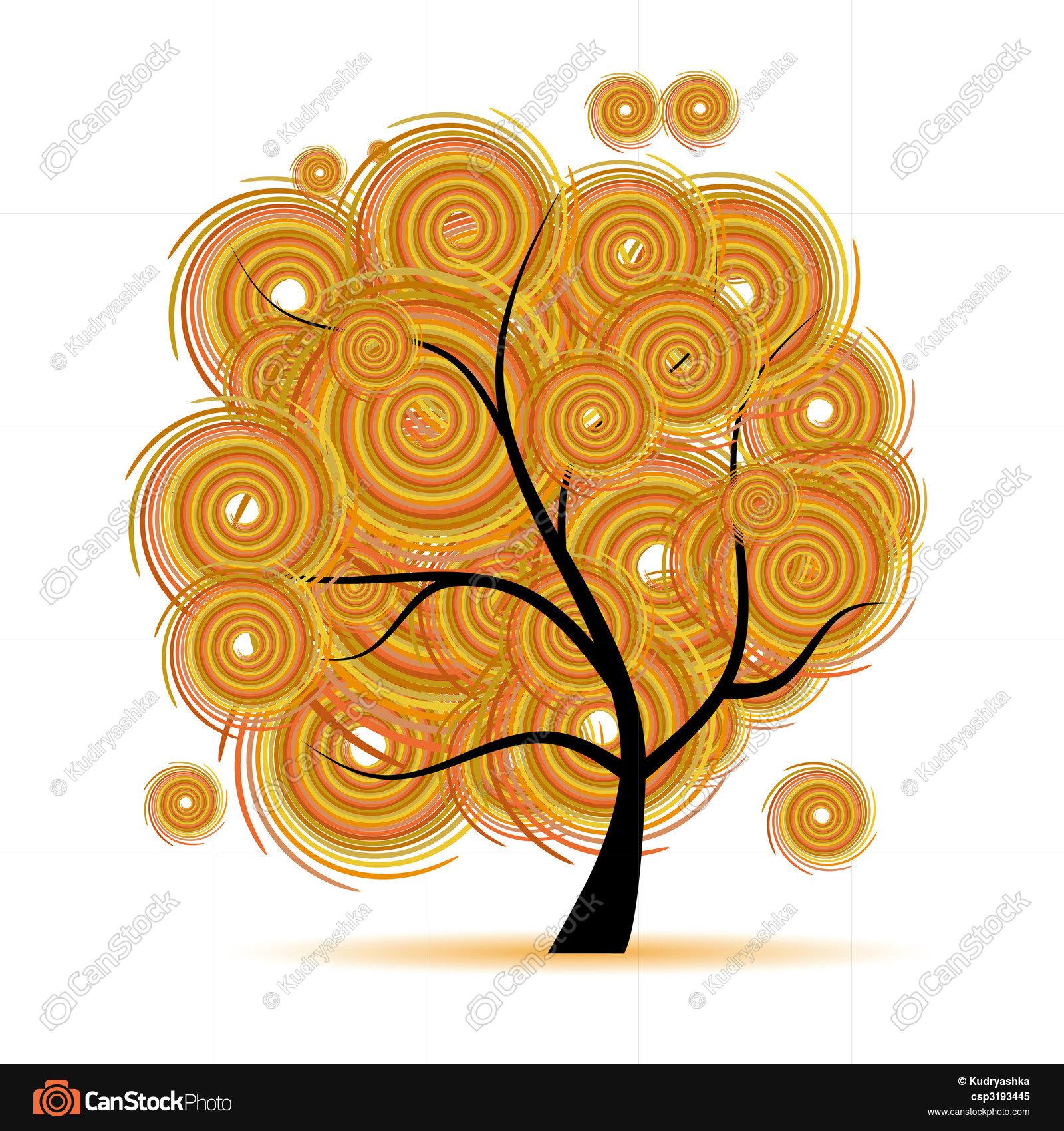 Art tree fantasy, autumn season clipart vector - Search Illustration ...