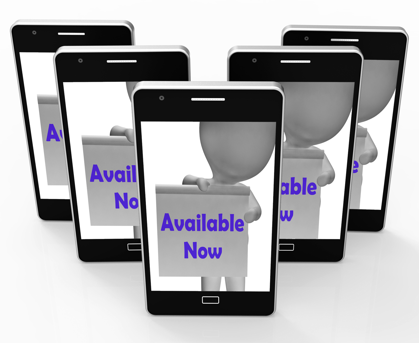 Available now sign phone shows open or in stock photo