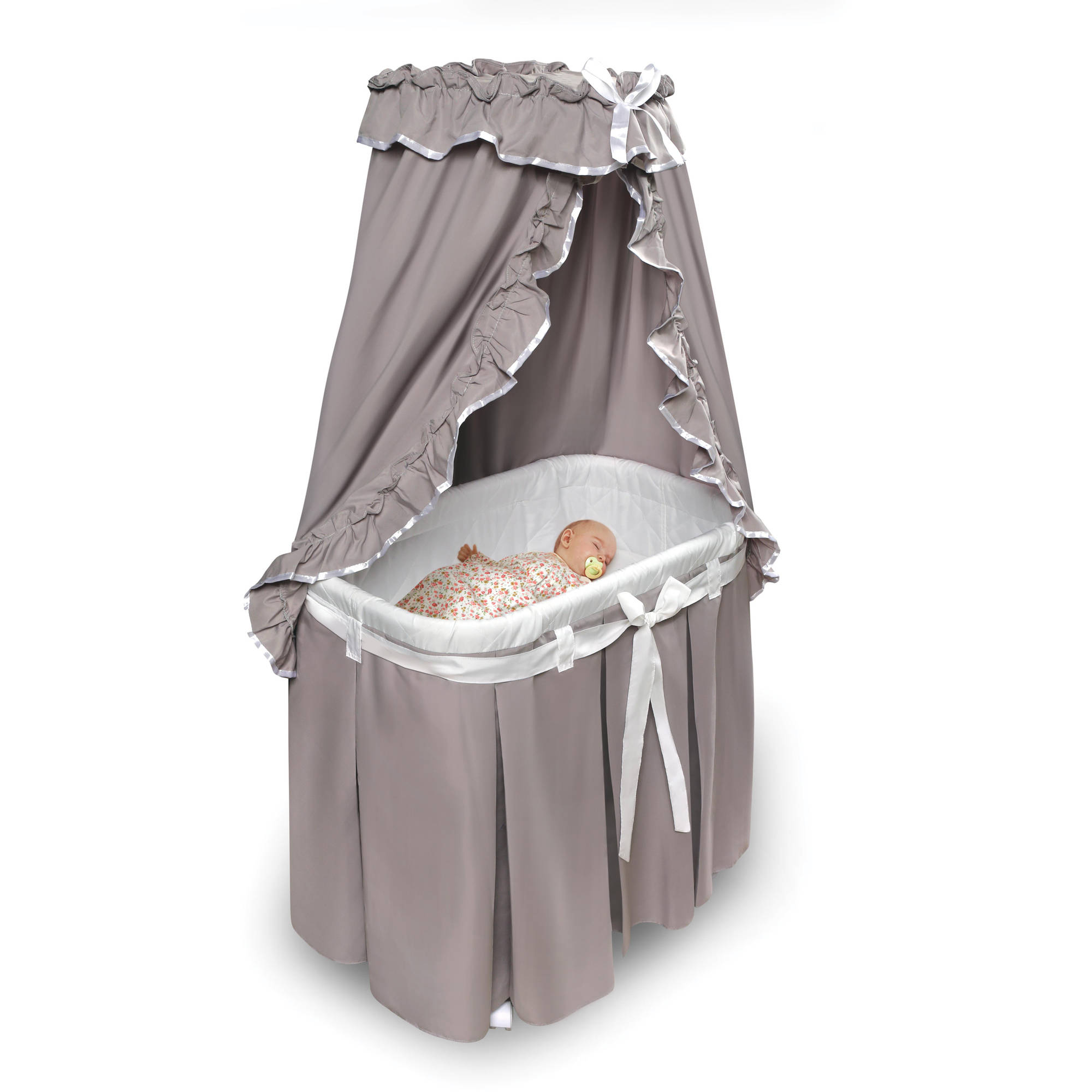 Badger Basket Majesty Baby Bassinet with Canopy, Black Toile ...