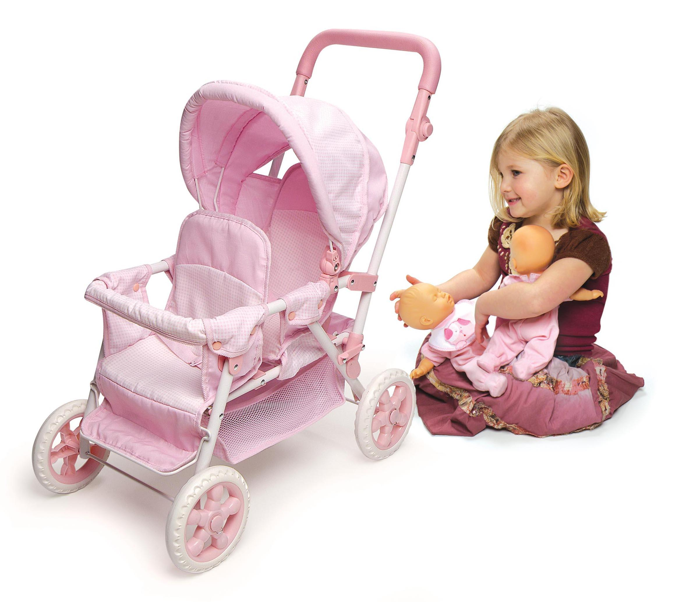Amazon.com: Badger Basket Folding Double Front-to-Back Doll Stroller ...