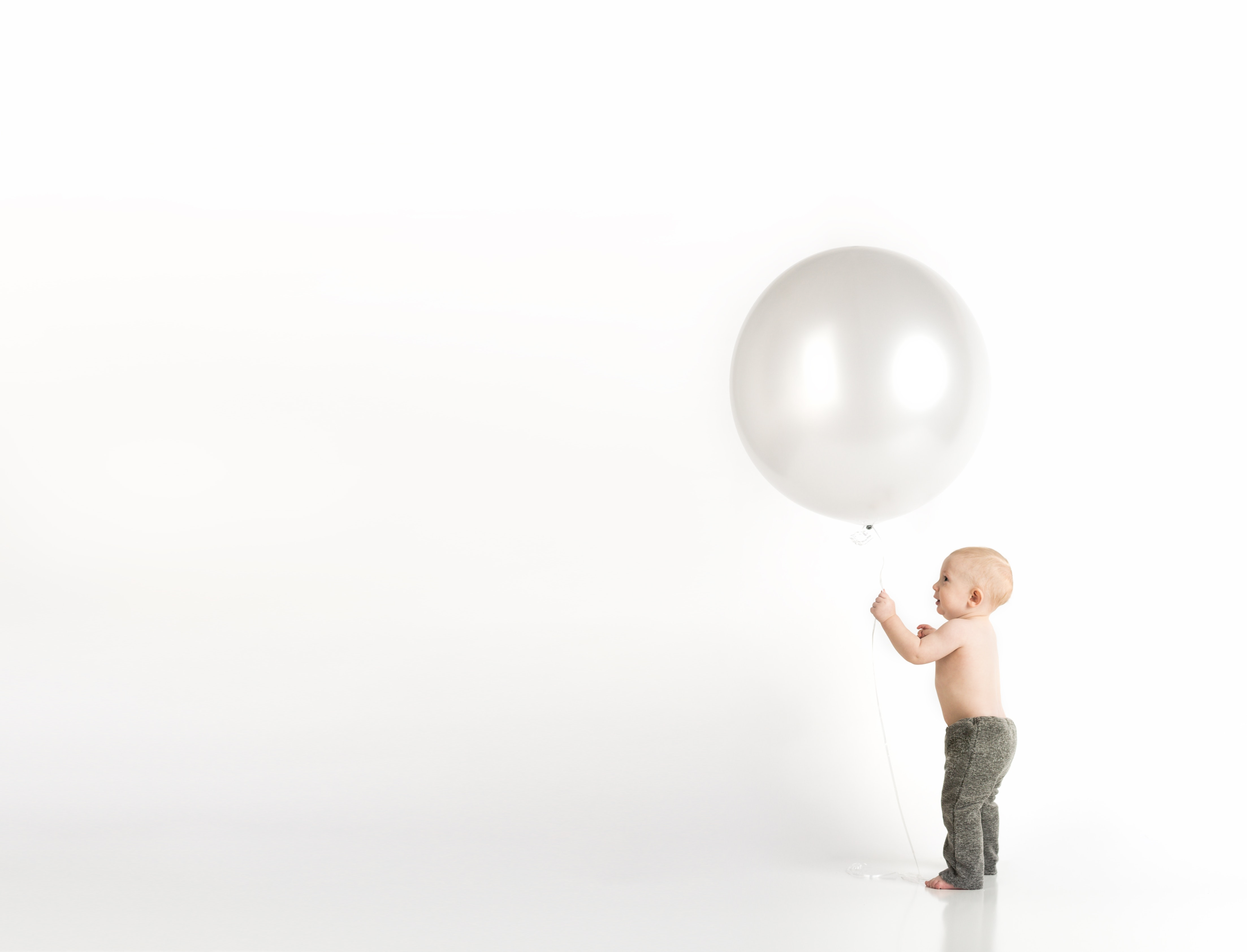 Baby in Black Pants Holding White Balloon While Standing, Innocence, Young, Wear, Toddler, HQ Photo
