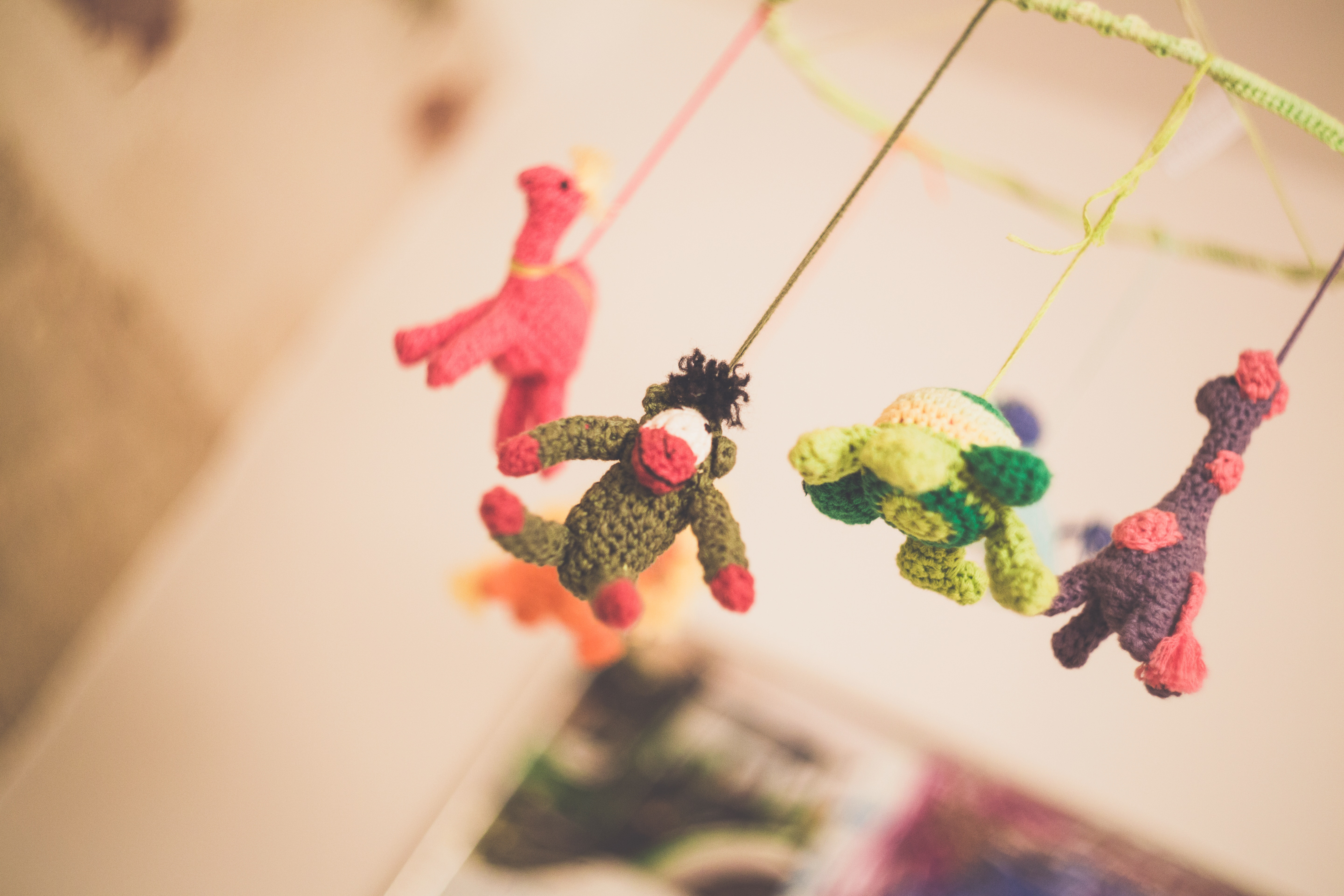 Baby's Knitted Mobile, Animal, Flora, Toy figure, Sweet, HQ Photo