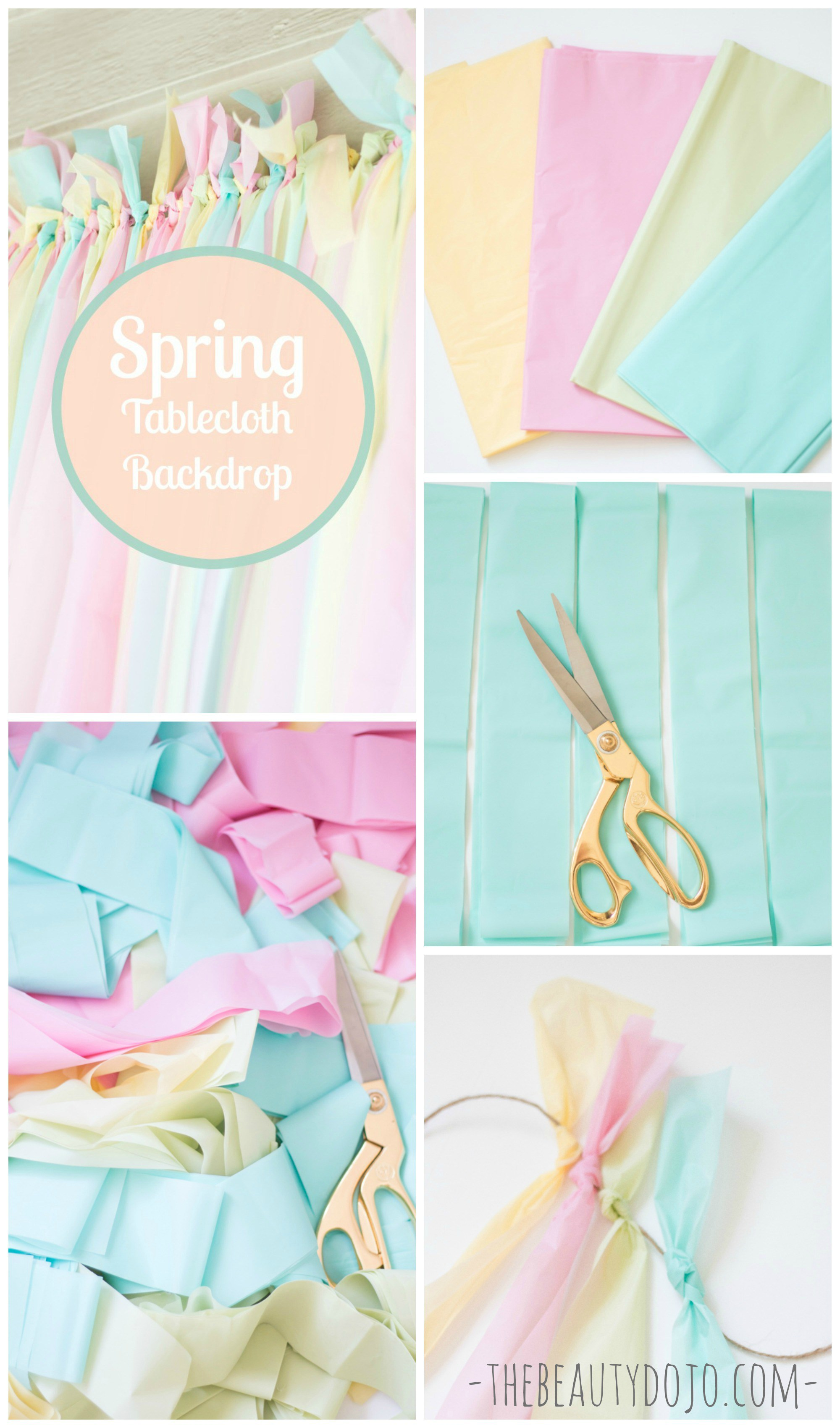Easy Spring Backdrop with Tablecloths -