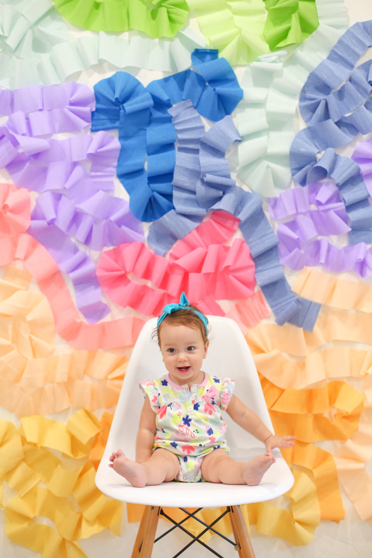 DIY Crepe Paper Wall Photo Backdrop | Lovely Indeed